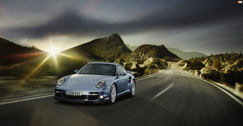 Turbo, Droga, Porsche, Promienie, Samochód, Słońca, 911, Góry