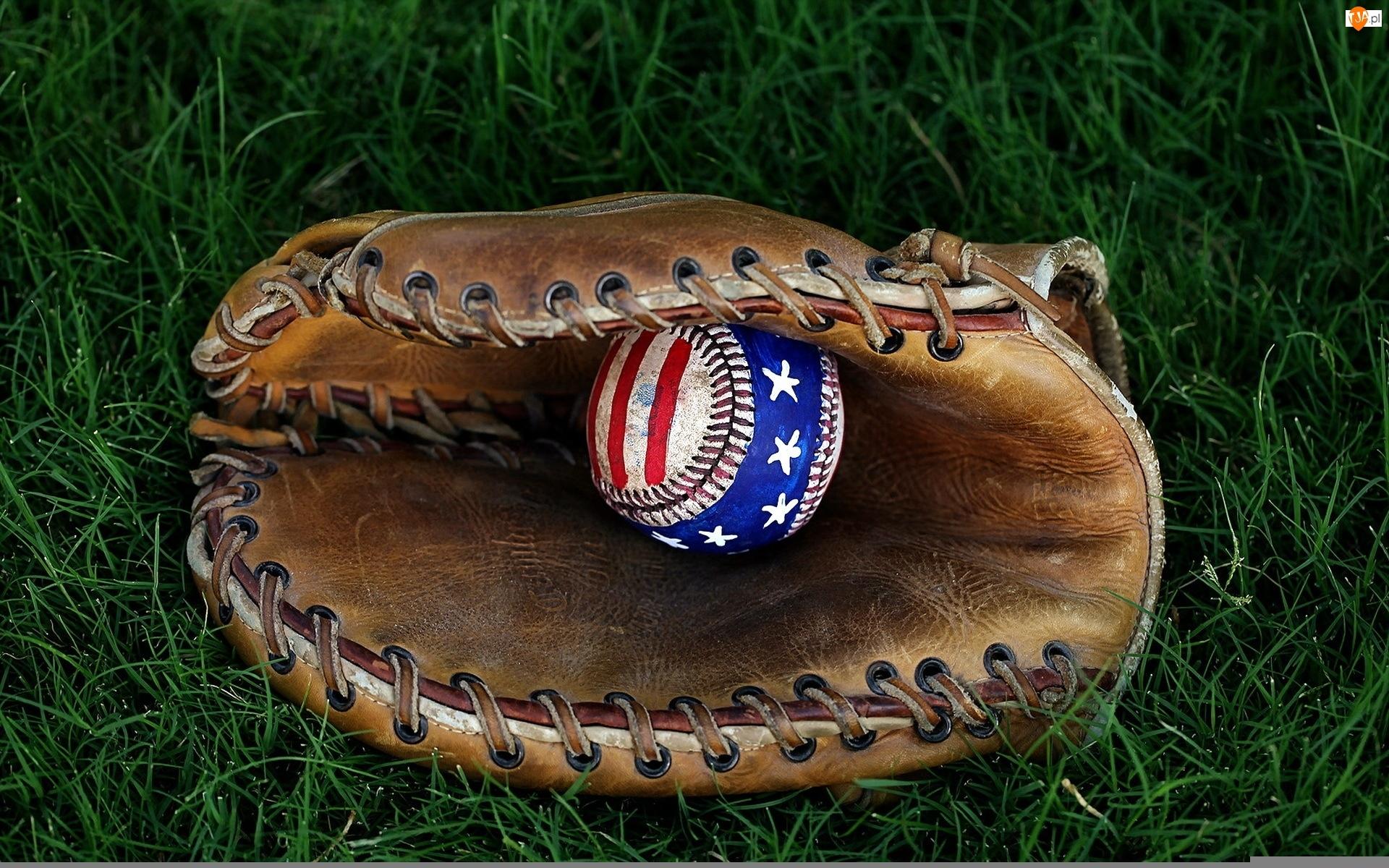 Rękawica, Baseball, Piłka, Trawa