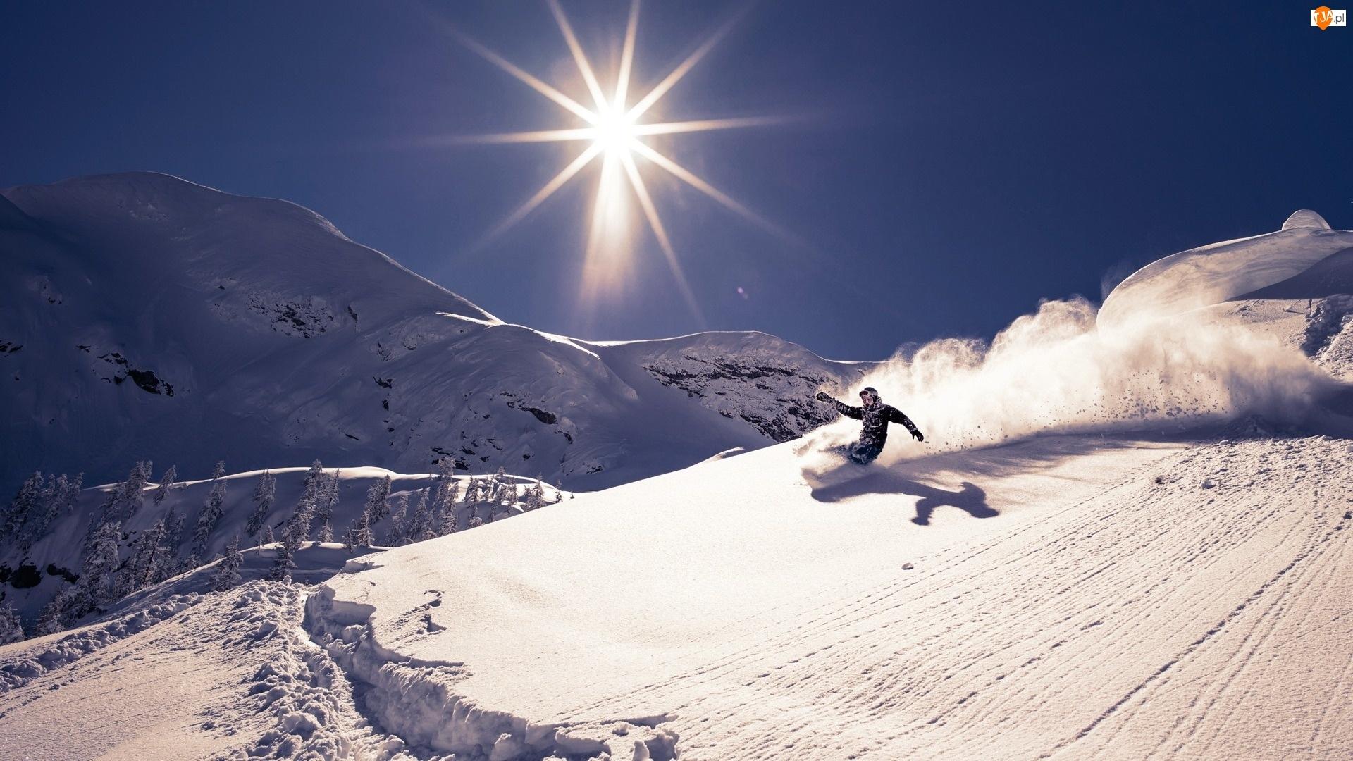 Zima, Snowbord, Góry, Słońce