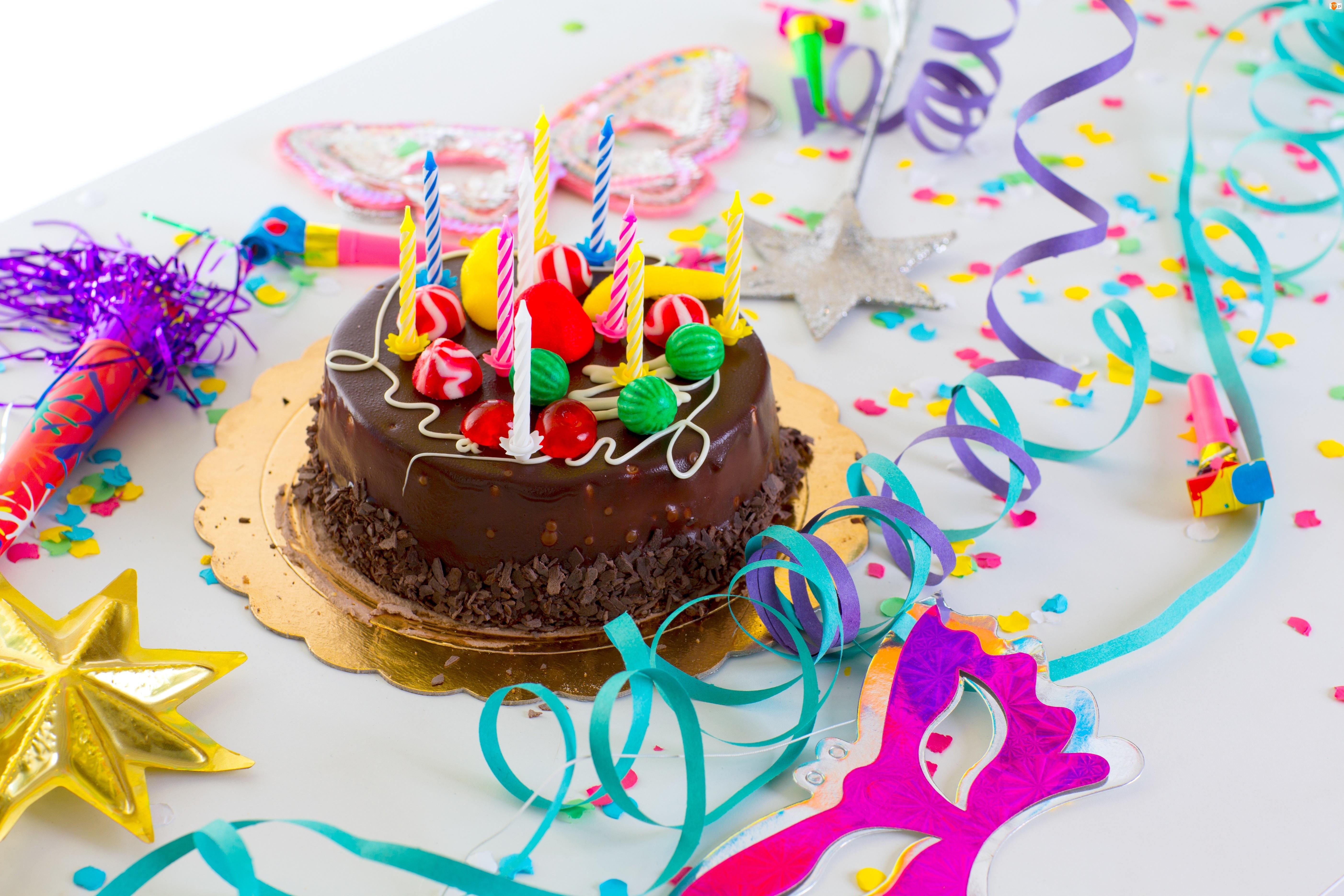 Urodziny, Serpentyny, Tort, Świeczki