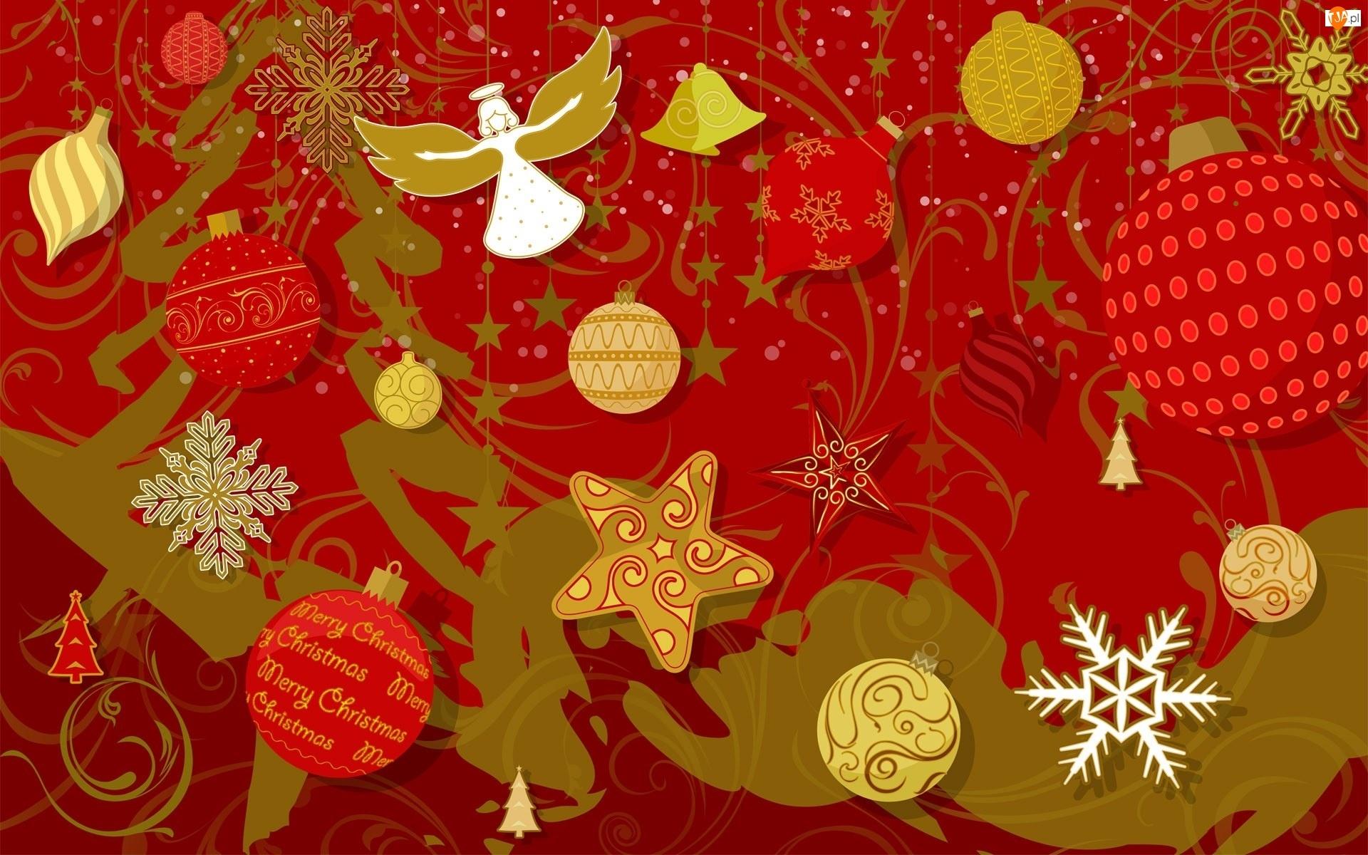 Ozdoby, Grafika, Anioł, Bożonarodzeniowa, Bombki