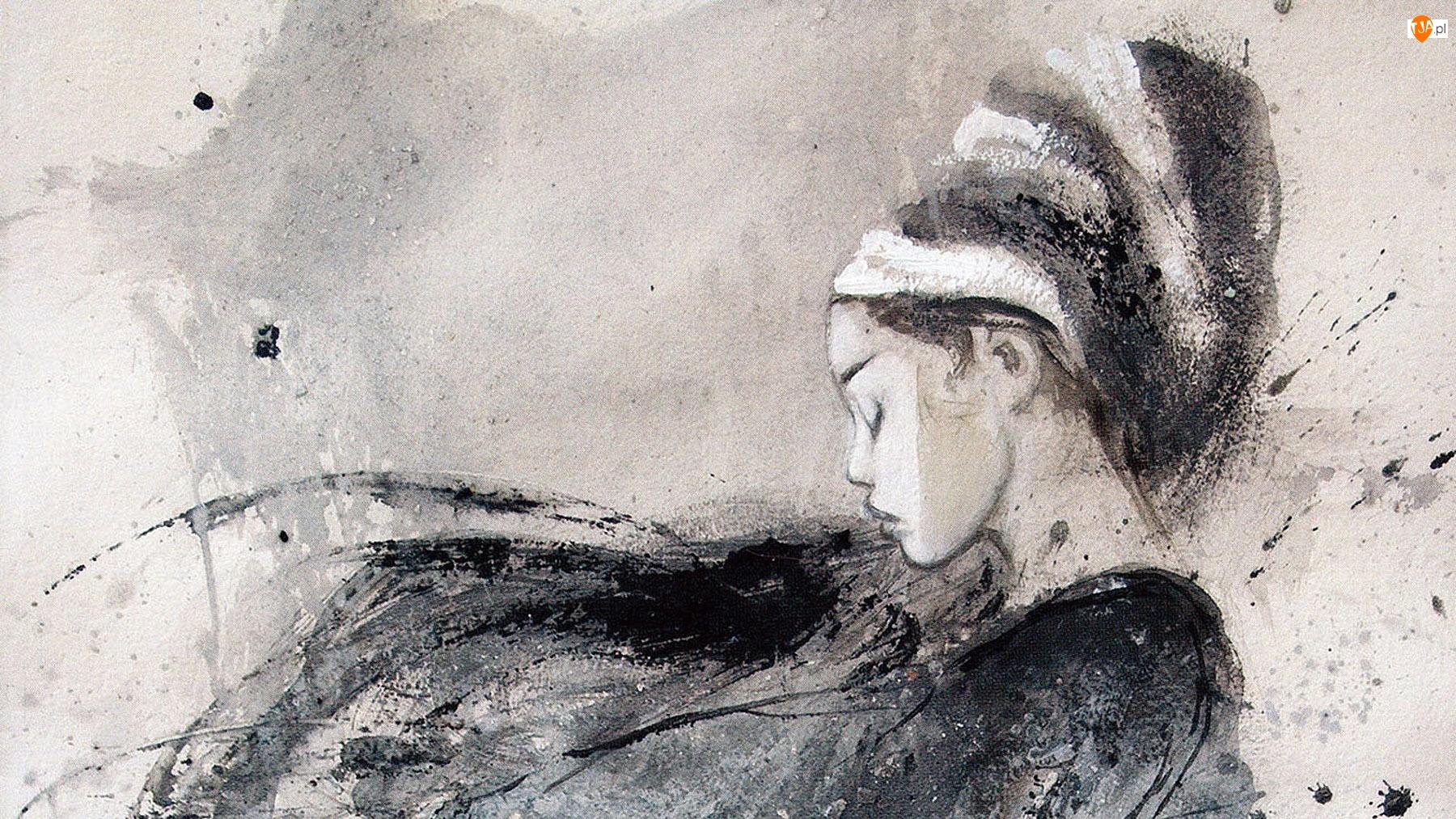 Akwarela, Dziewczyna, Malarstwo, Obraz