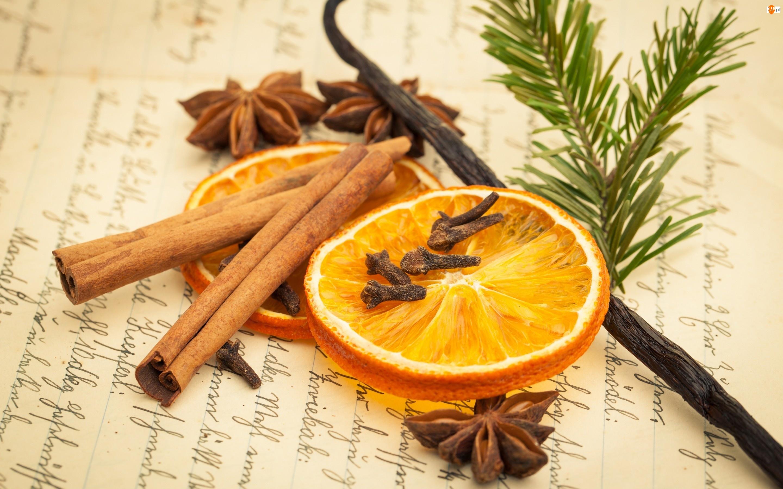 laska wanilii, cynamon, anyż, pomarańcza, goździki