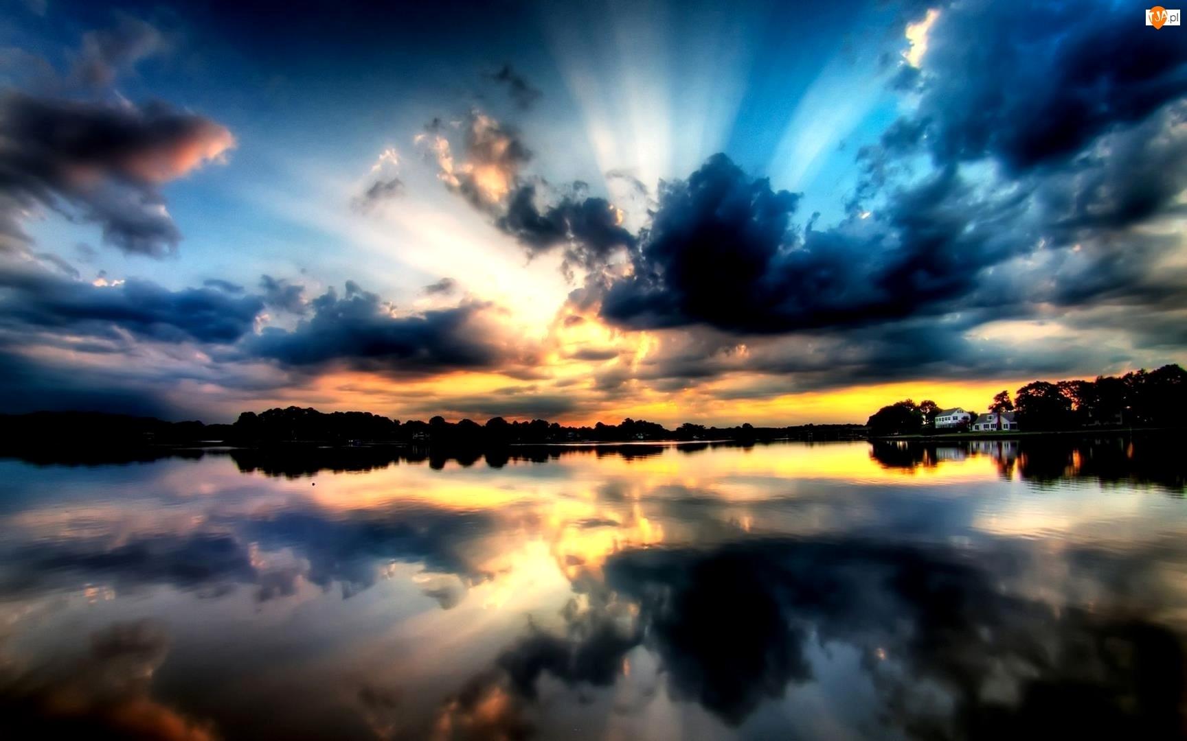Słońca, Jezioro, Odbicie, Chmury, Zachód
