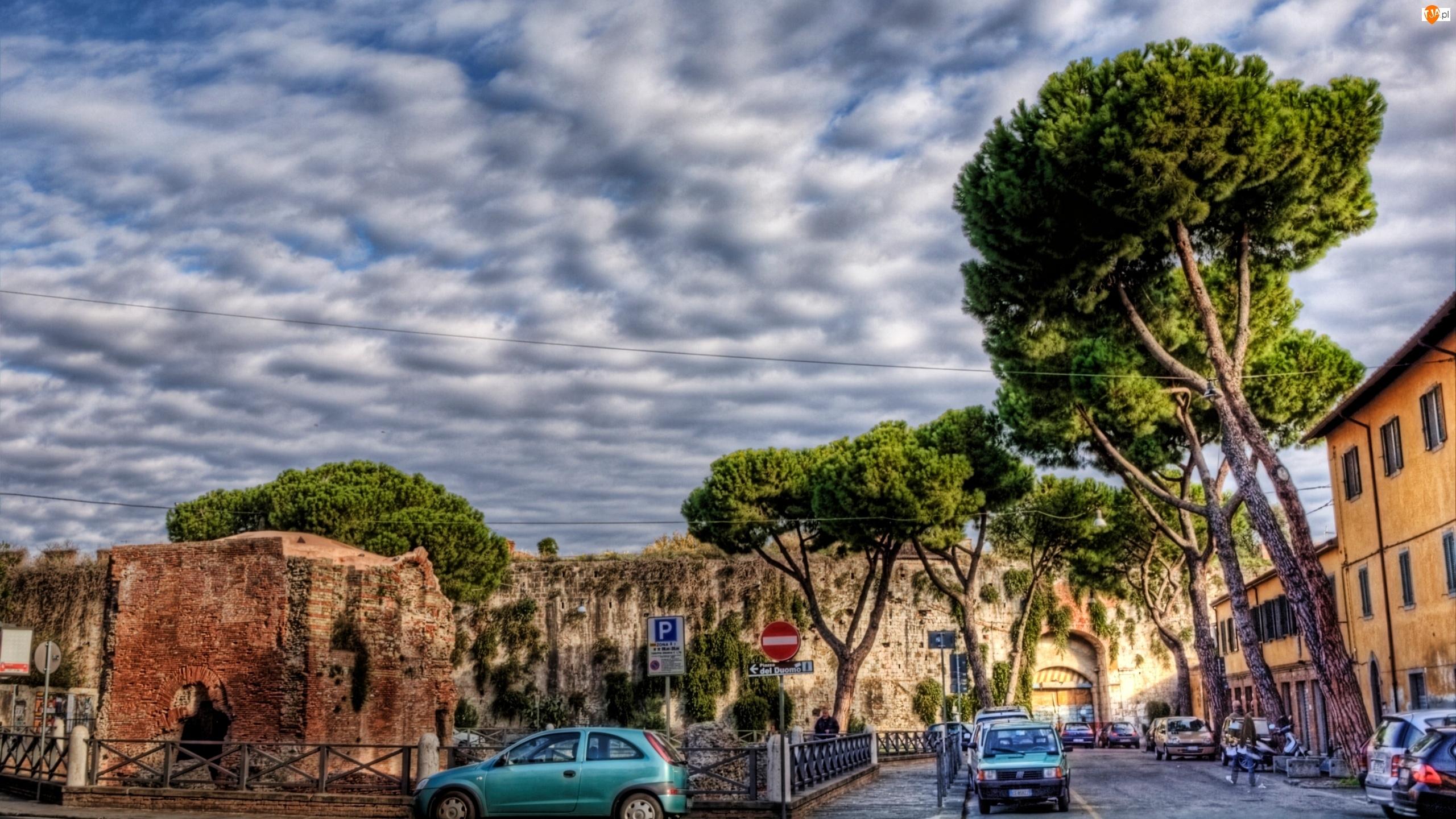 Samochody, Włochy, Domy, Piza, Drzewa