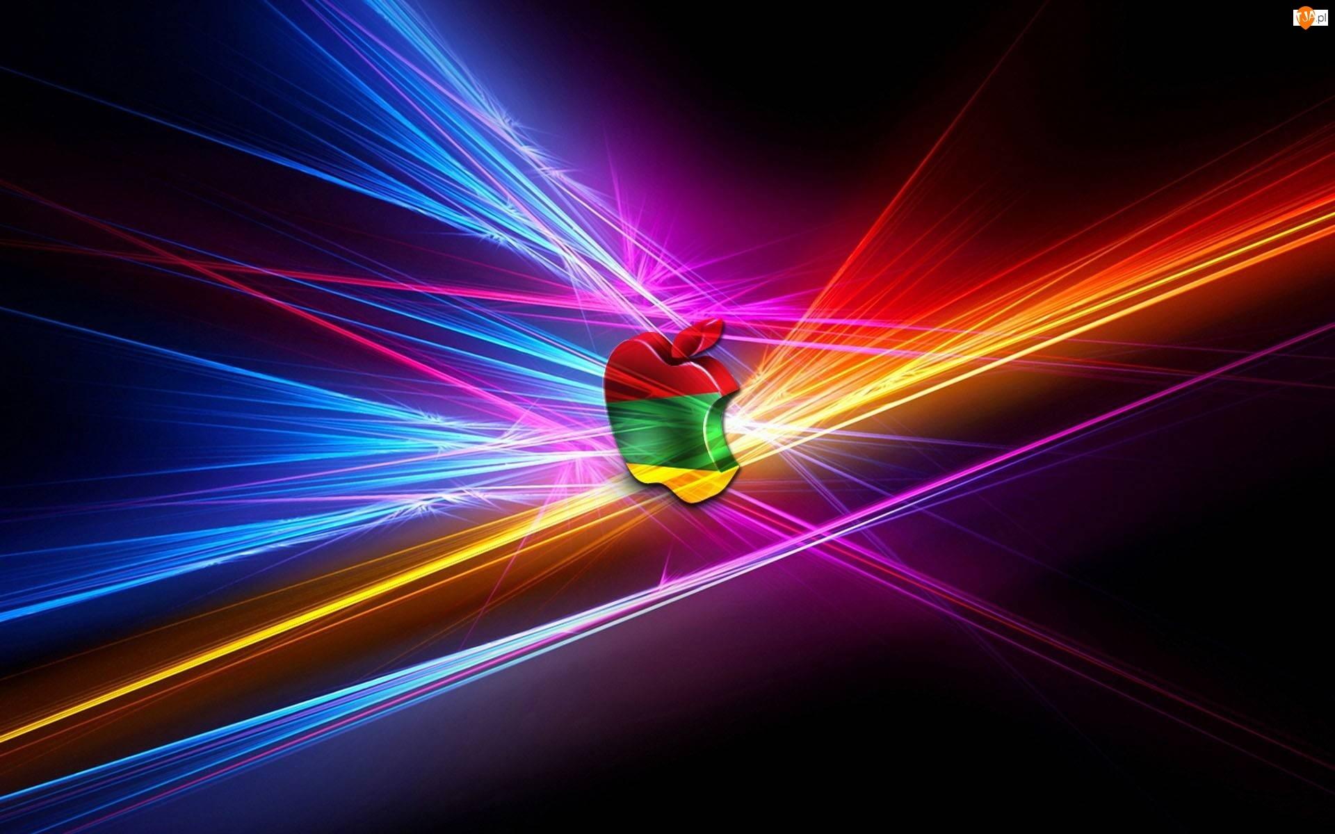 Kolorowe, Lasery, Logo, Apple