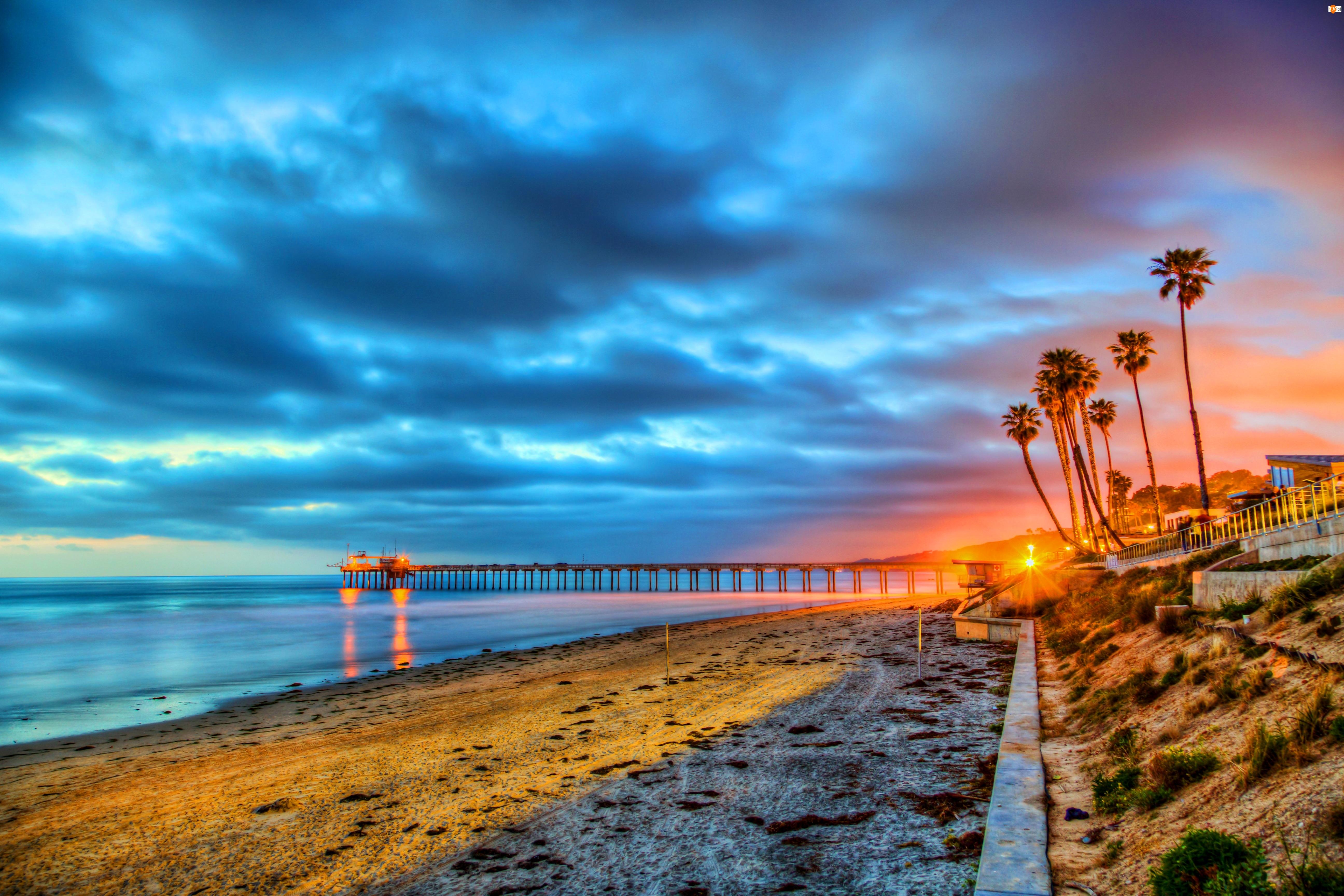 Morze, Zachód Słońca, Plaża, Pomost