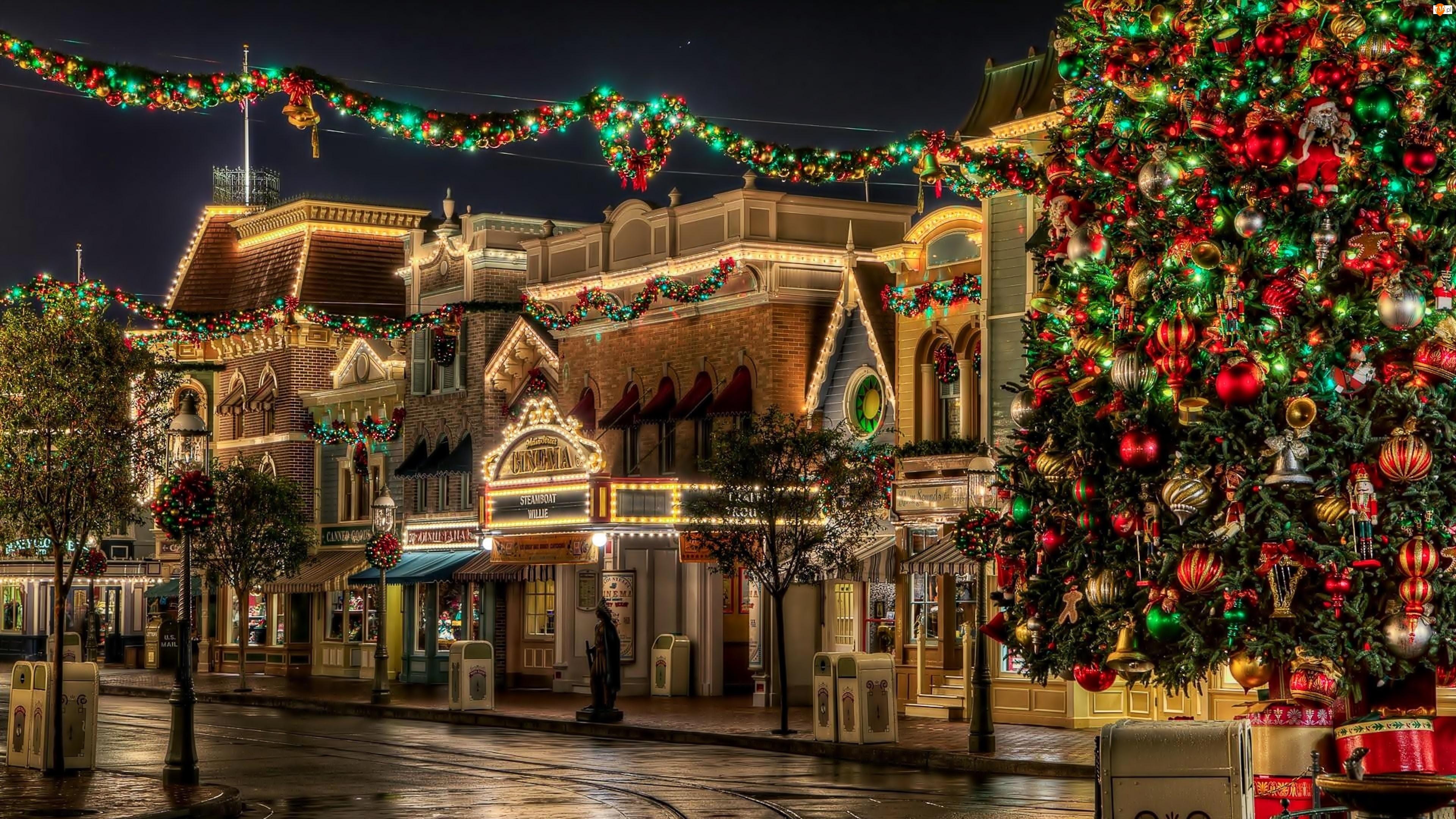 Domy, Dekoracje, Ulica, Świąteczne