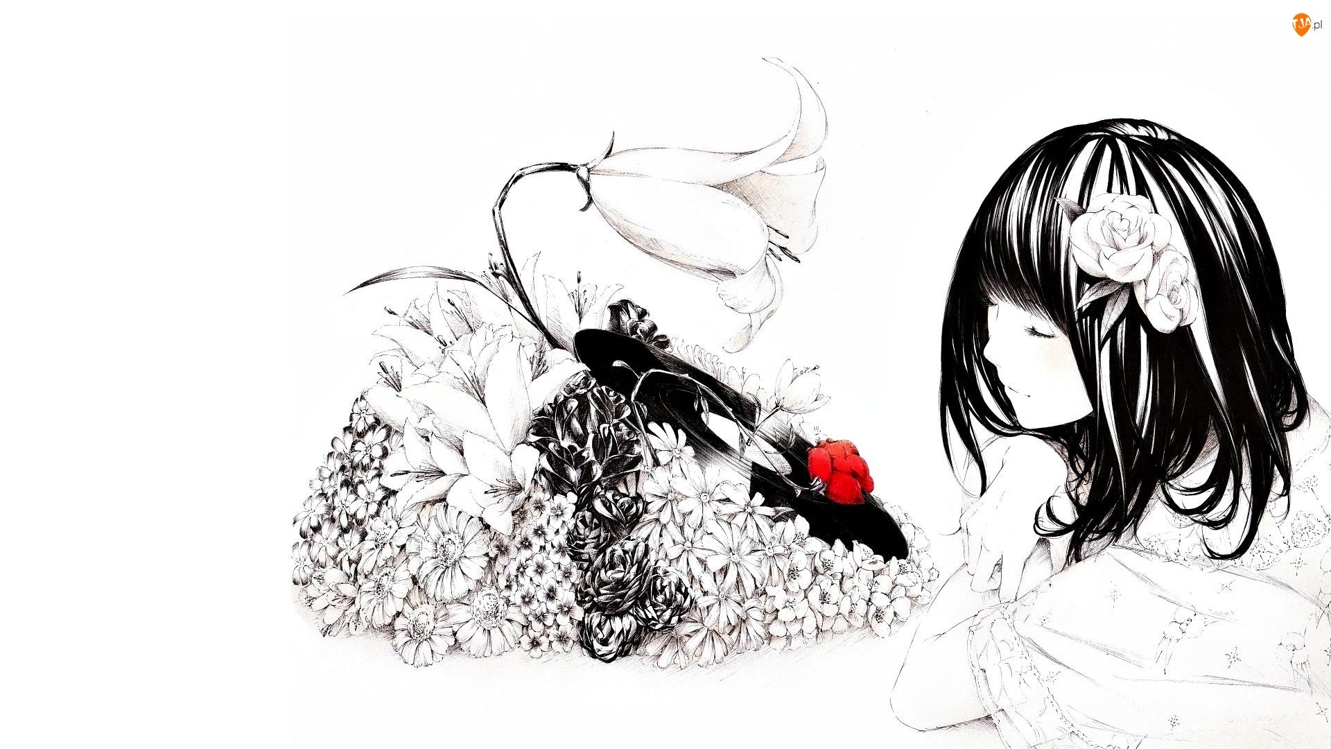 Rysunek, Dziewczyna, Kwiaty