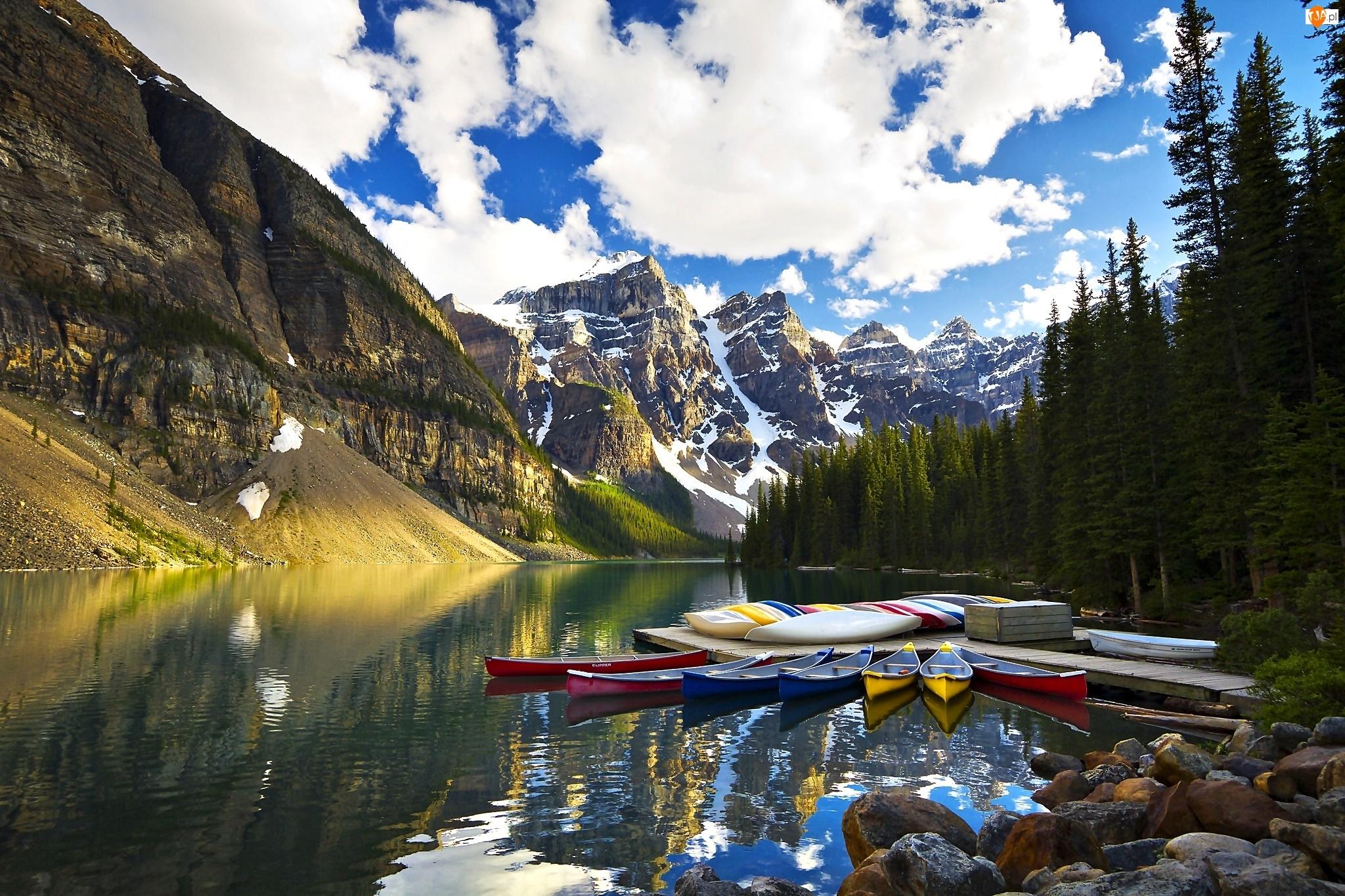 Park Narodowy Banff, Dolina Dziesięciu Szczytów - Valley of the Ten Peaks, Kanada, Łódki, Prowincja Alberta, Jezioro Moraine