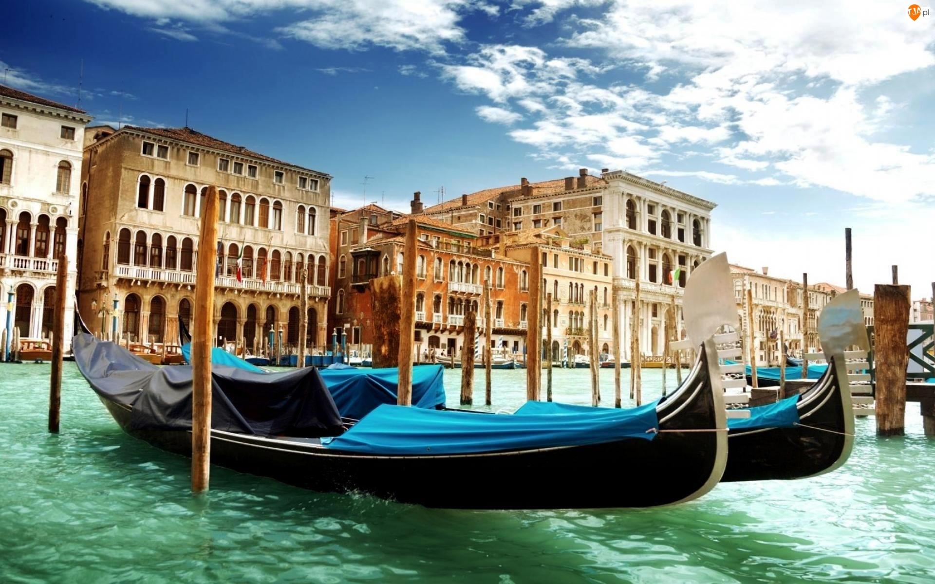 Domy, Włochy, Gondole, Wenecja