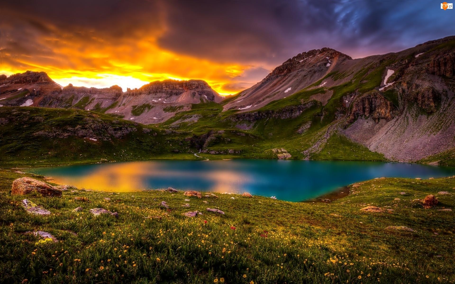Zachód, Jezioro, Słońca, Góry