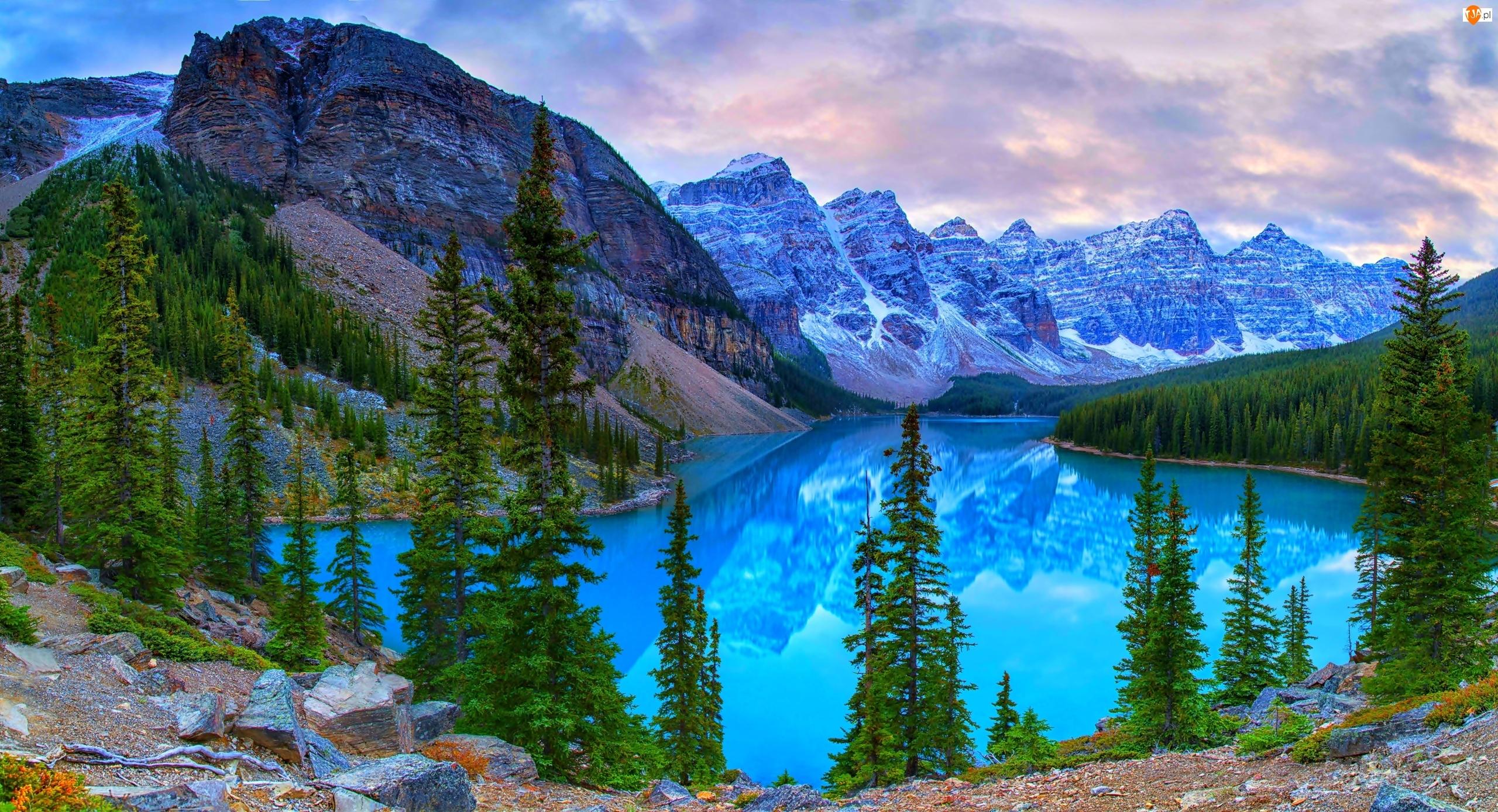 Park Narodowy Banff, Kanada, Jezioro Moraine Lake, Góry, Prowincja Alberta