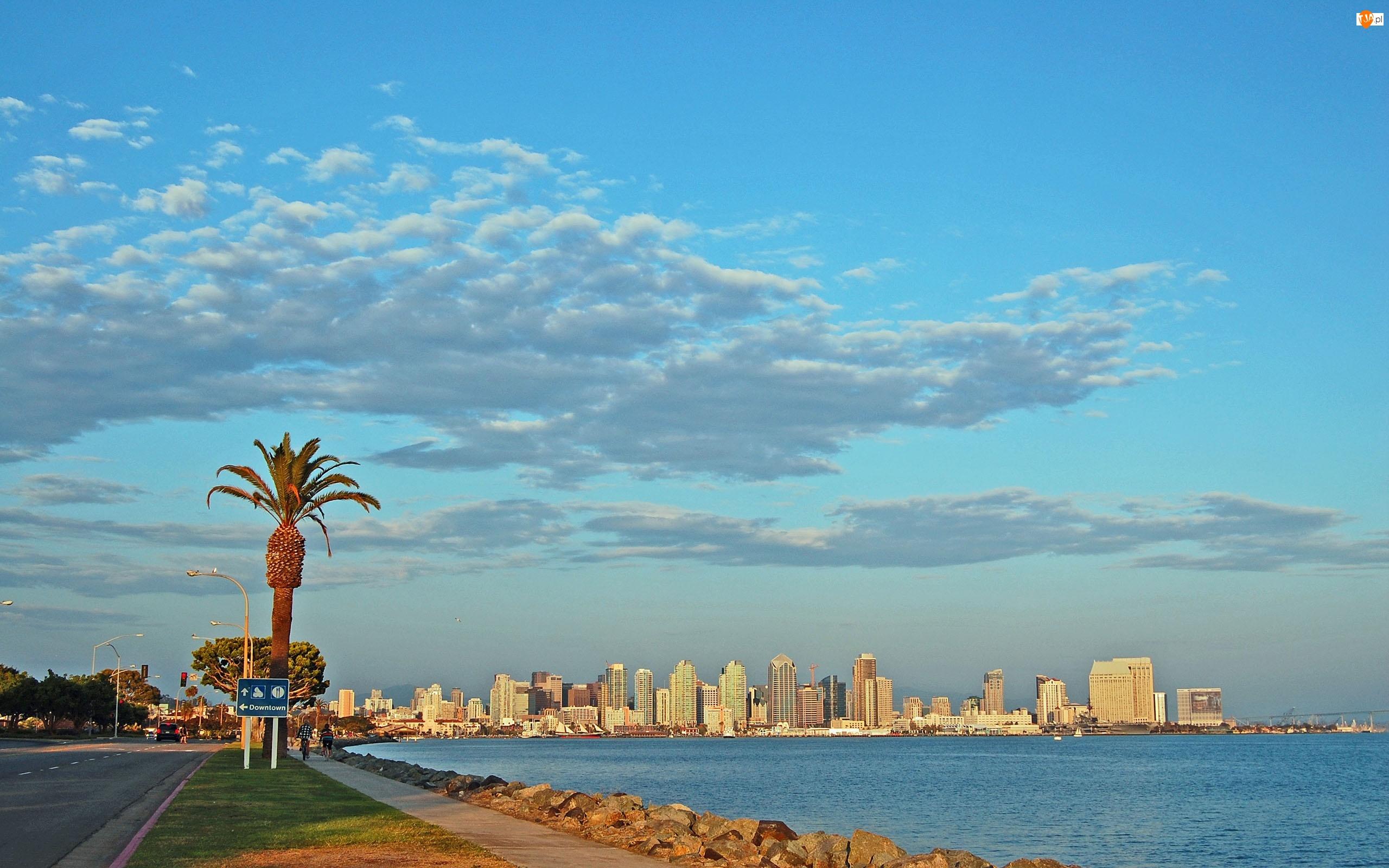 Drapacze Chmur, Palma, Stany Zjednoczone, Chmury, San Diego, Ocean