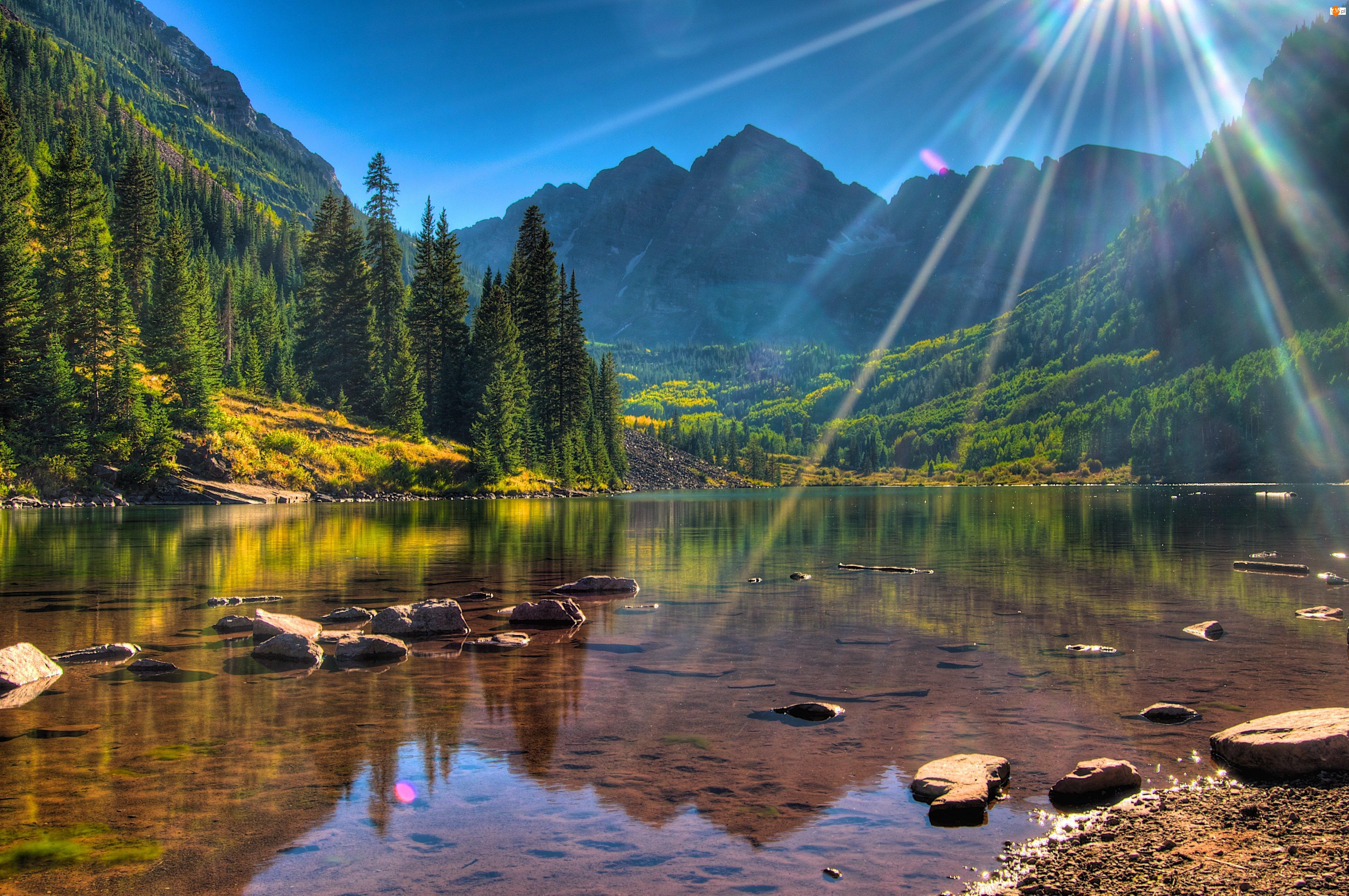 Las, Promienie, Lato, Słońca, Góry, Jezioro