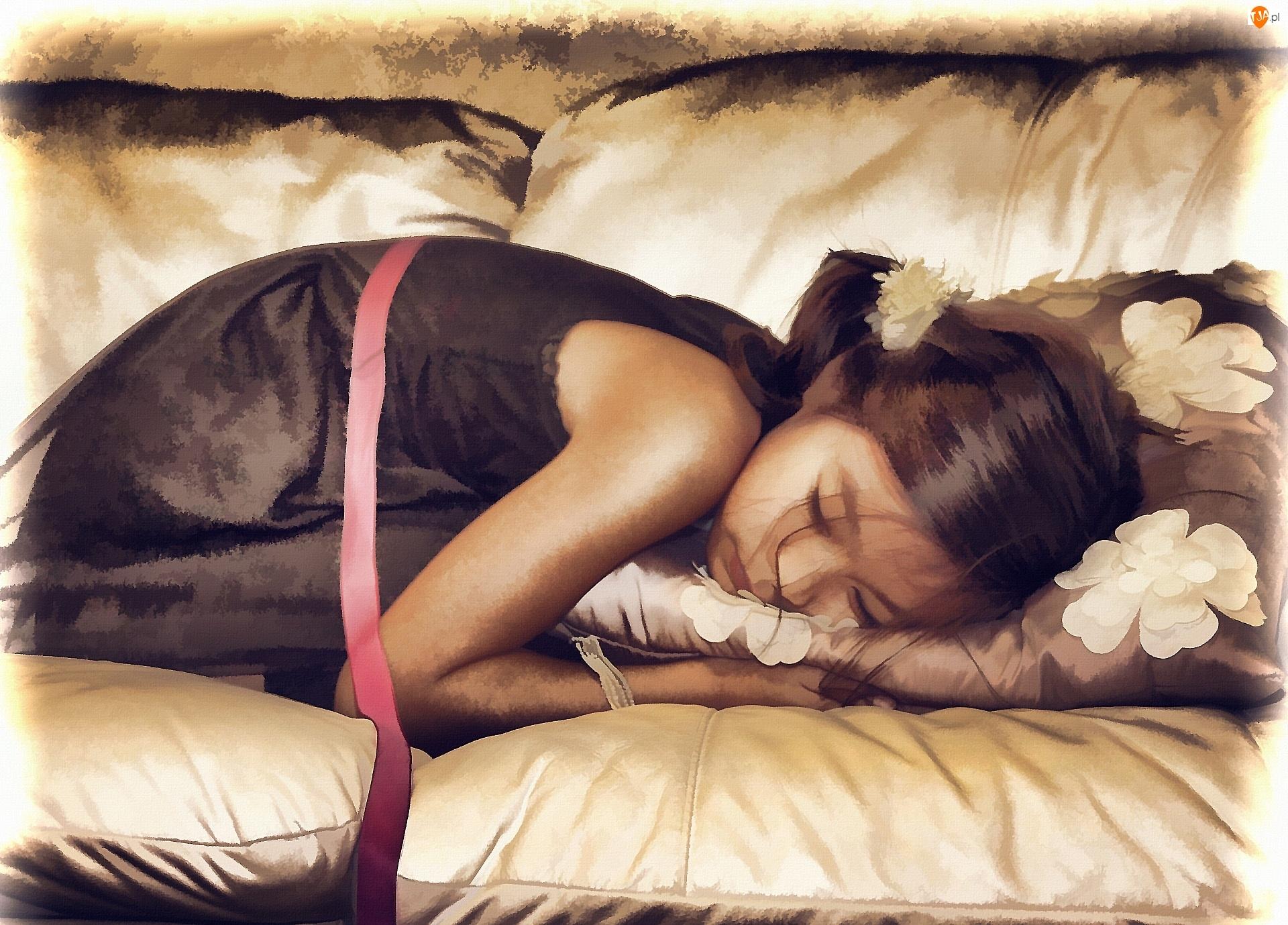 Poduszki, Śpiąca, Malarstwo, Dziewczynka, Obraz
