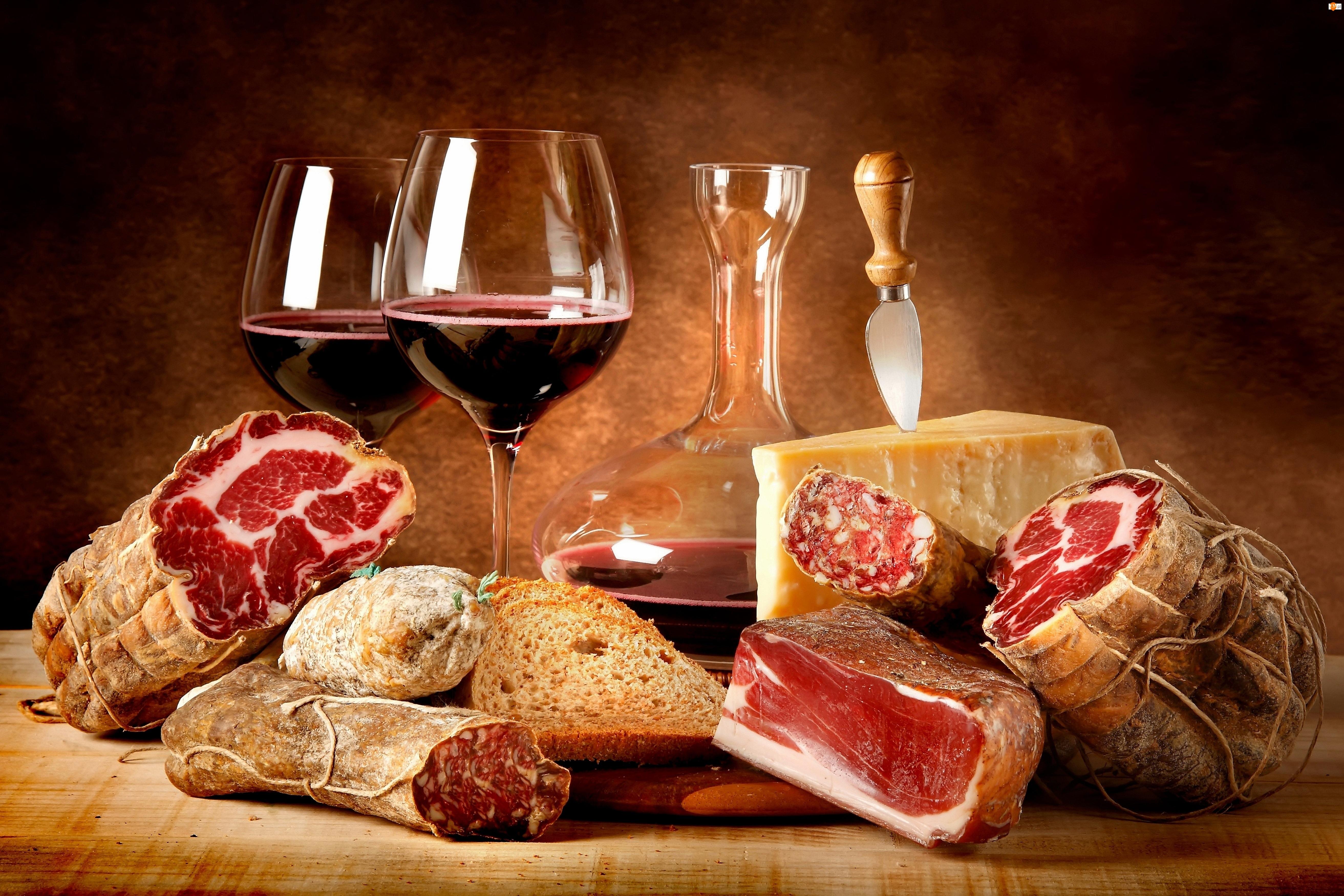 Pieczywo, Wino, Mięso