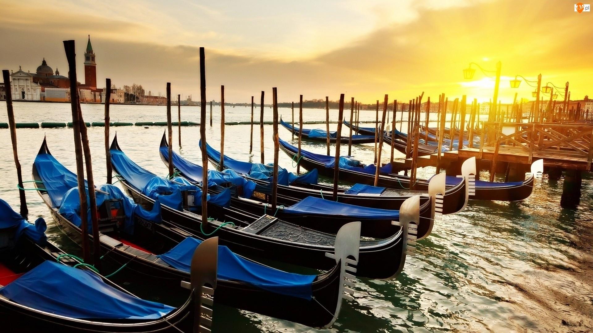 Weneckie, Słońca, Gondole, Wschód