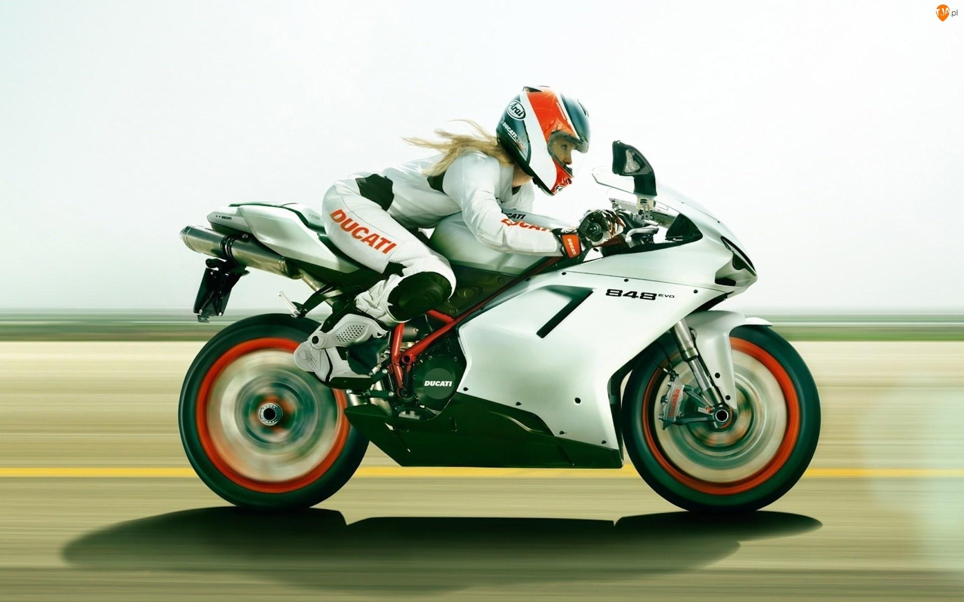 Dziewczyna, Szosa, Motocykl, Ducati 848