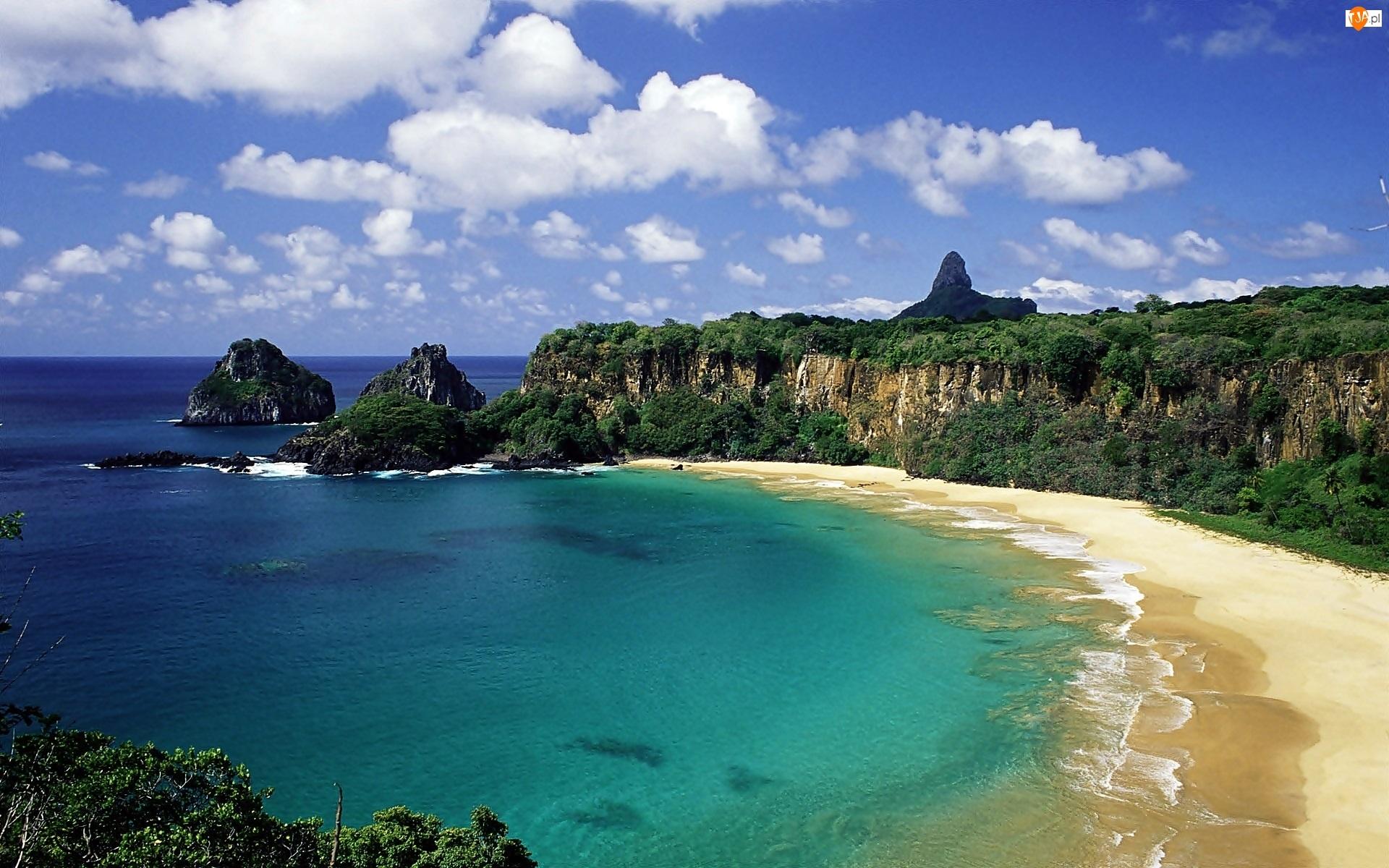 Archipelag, Dżungla, Plaża, Morze, Fernando de Noronha, Skały, Obłoki