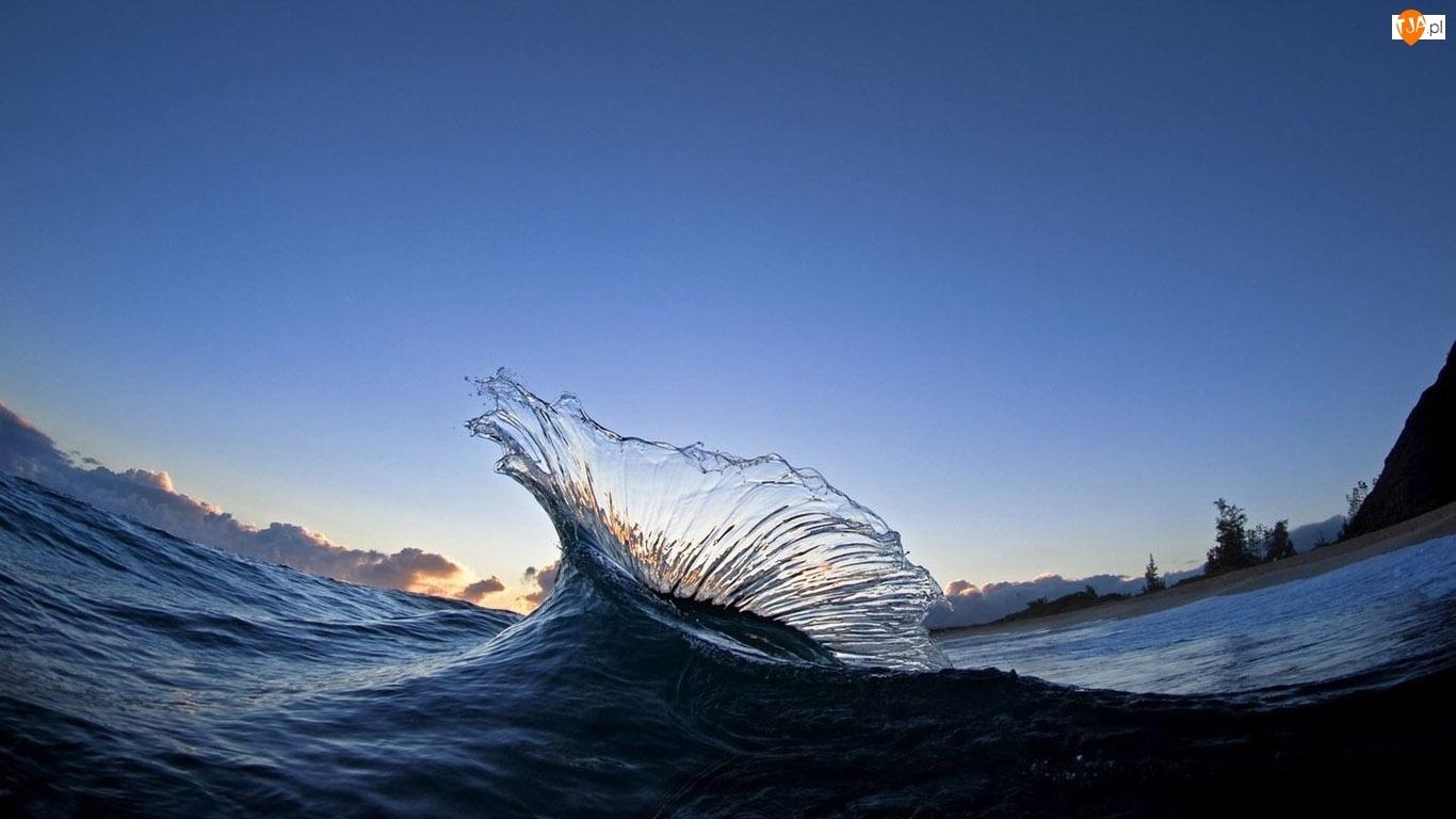 Błękitne, Morze, Niebo, Fala