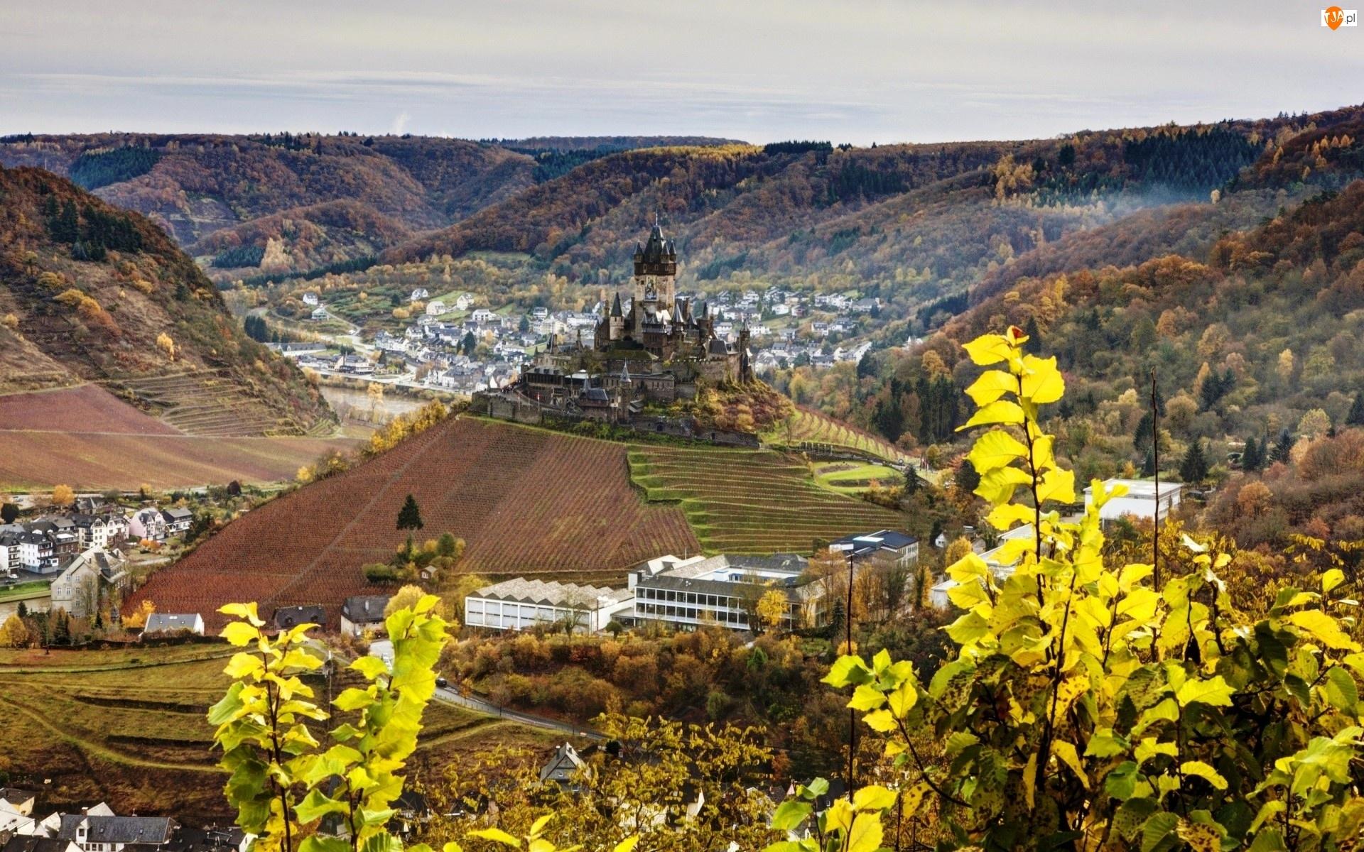 Niemcy, Zamek, Reichsburg, Panorama, Cochem