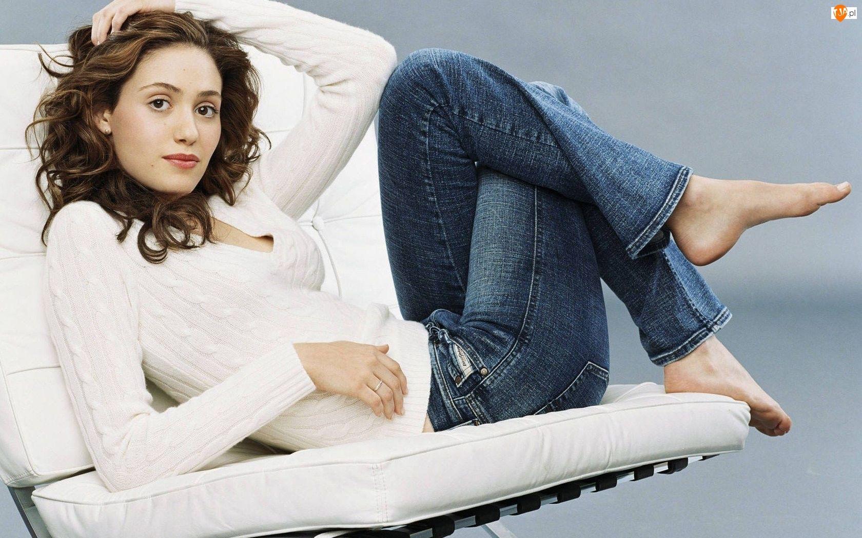 Emmy Rossum, Spodnie, Biała, Bluzka