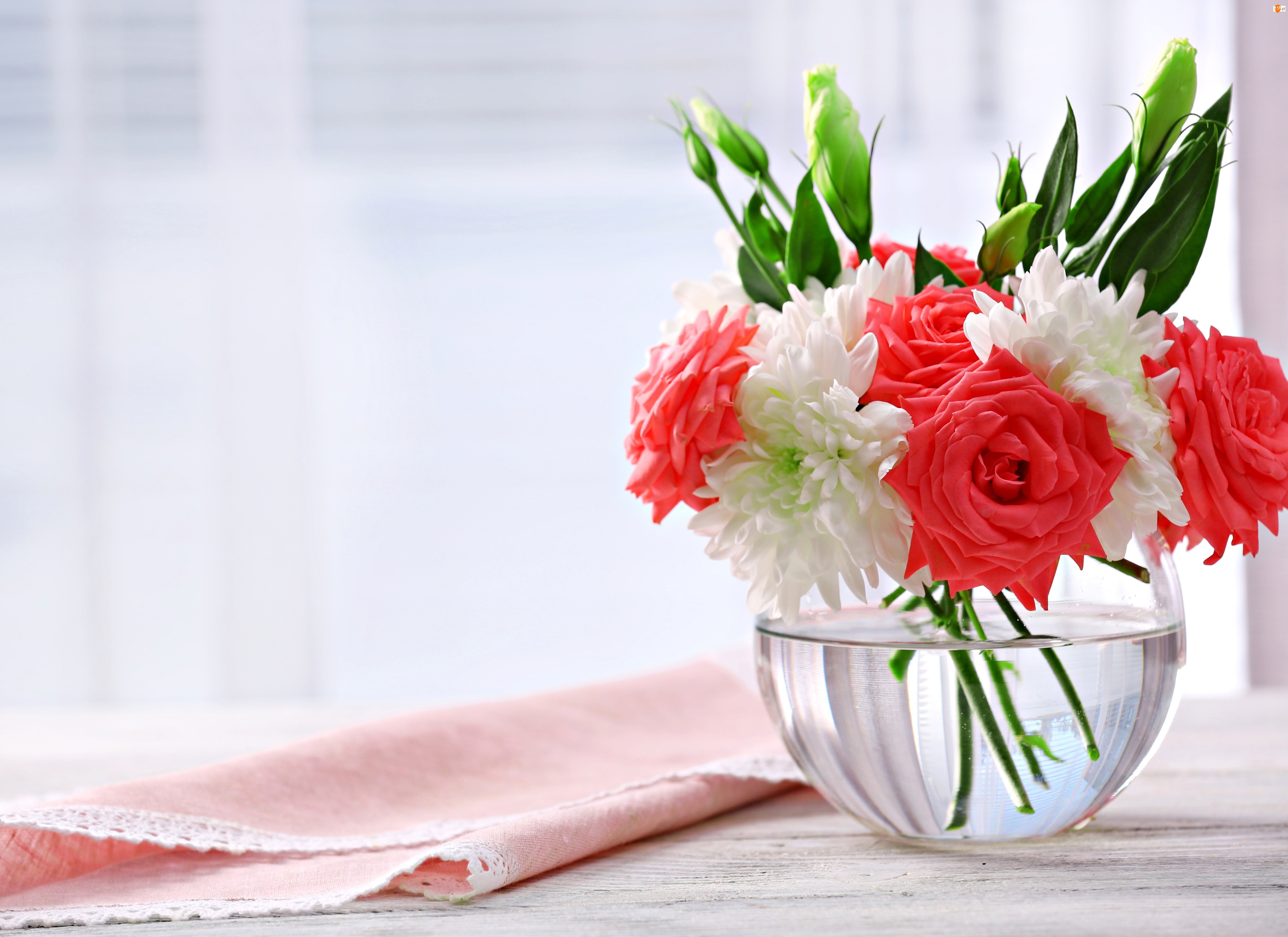 Okno, Róże, Bukiet, Chryzantemy, Wazon