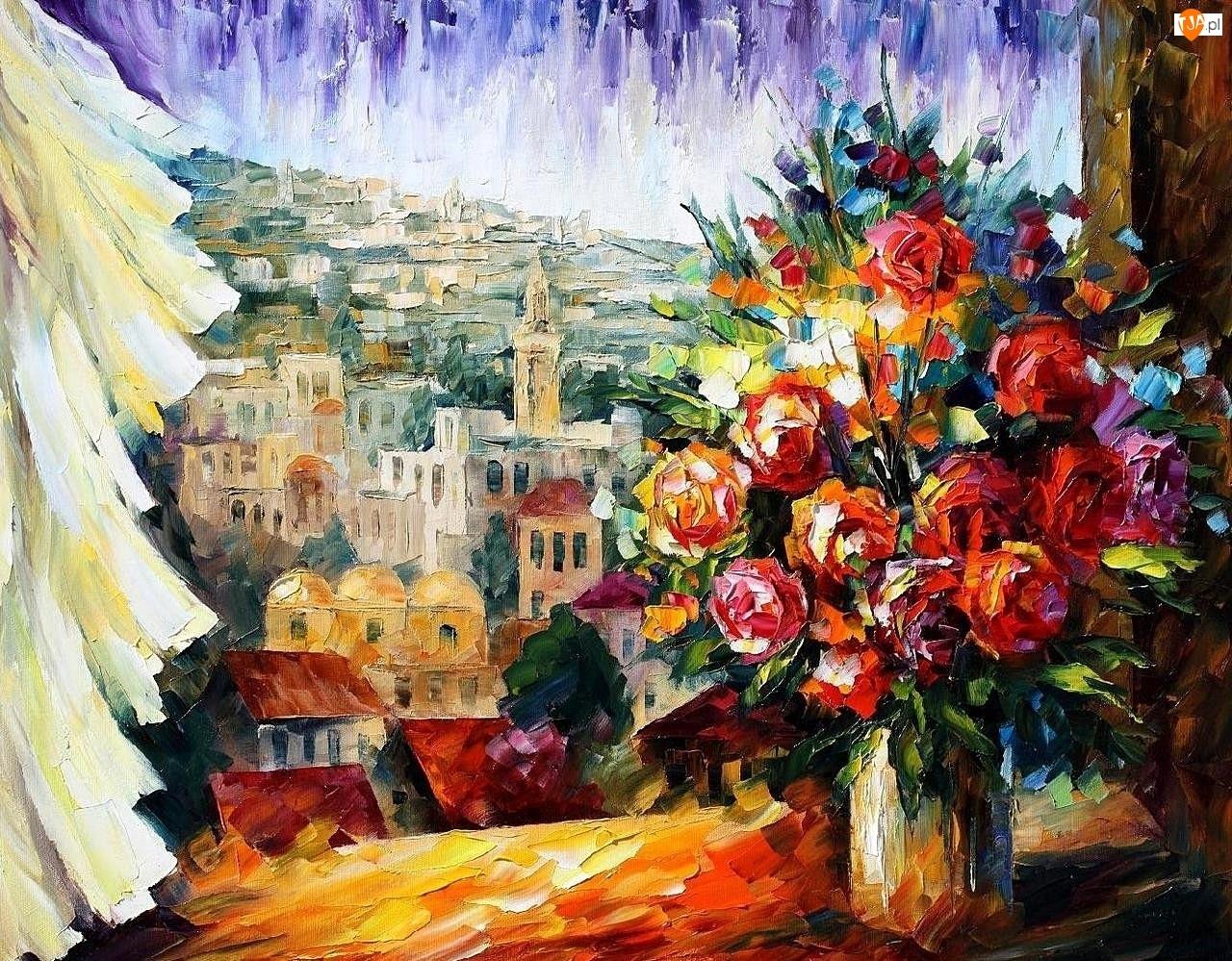 Obraz, Leonid Afremov, Bukiet Kwiatów w Oknie