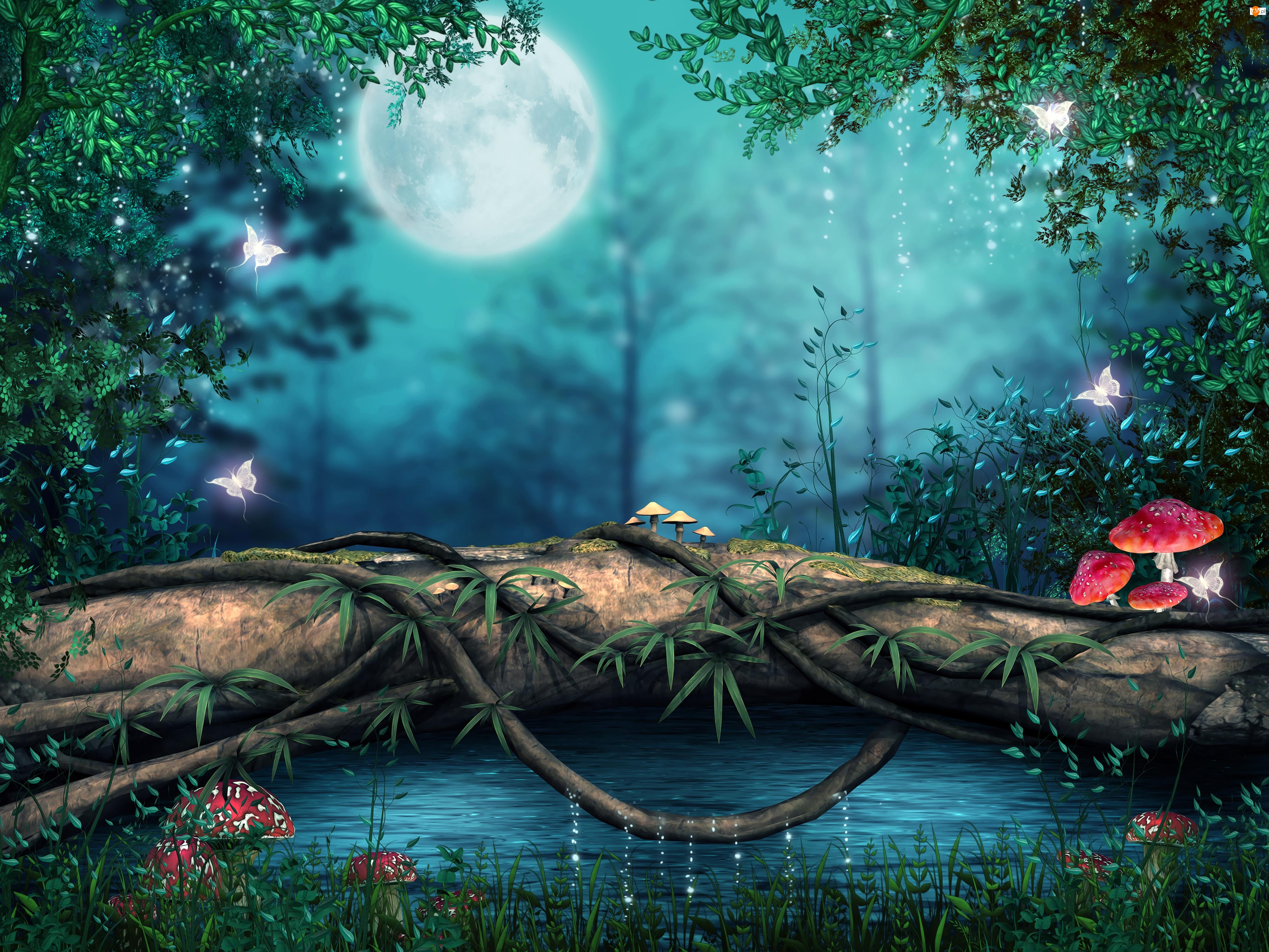 Księżyc, Fantasy, Muchomory, Drzewa, Motyle