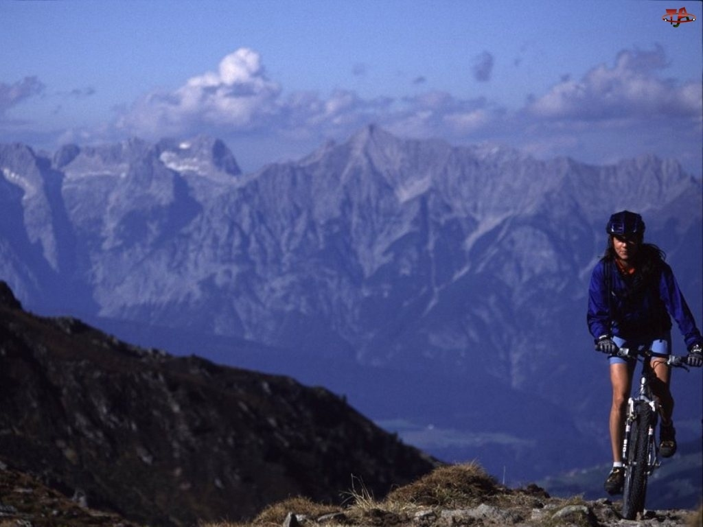 kobieta, Rower, Góry