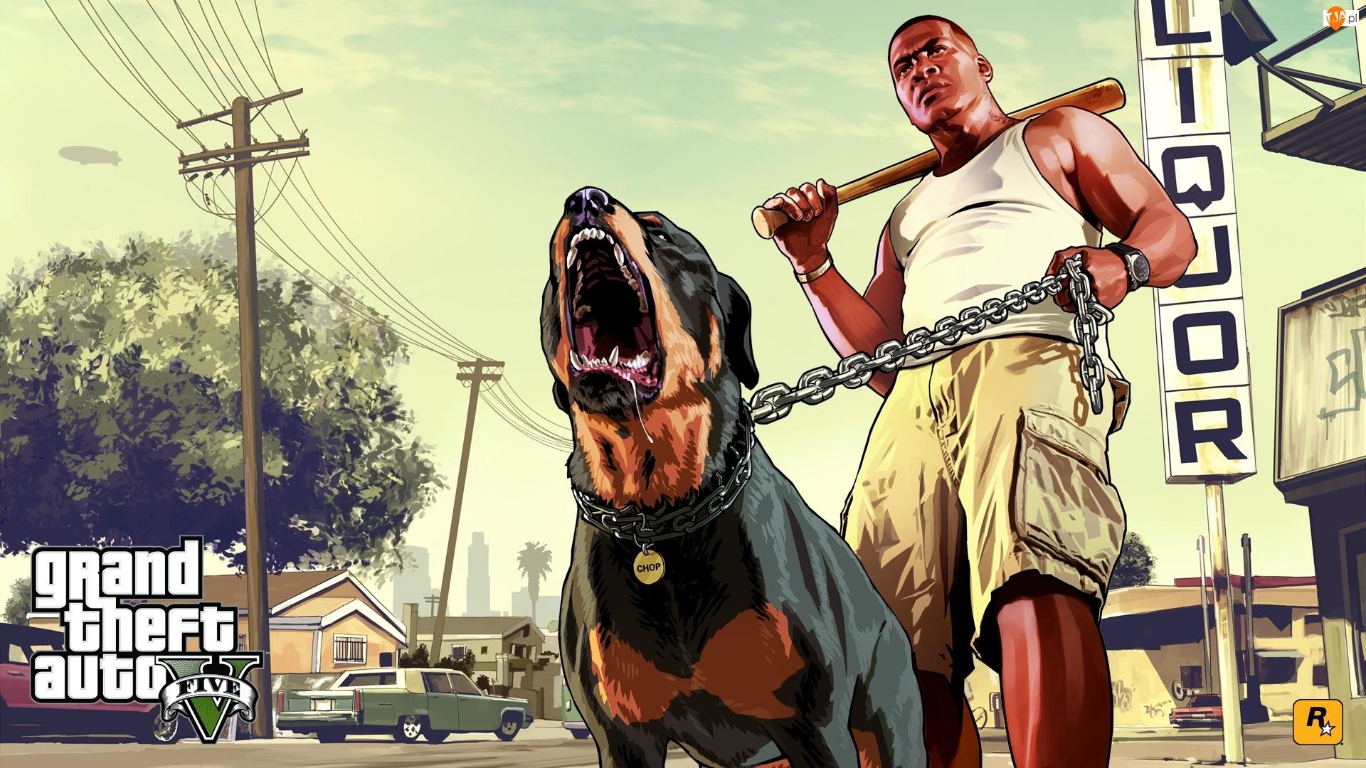 Ulica, Gra, Mężczyzna, GTA V, Pies