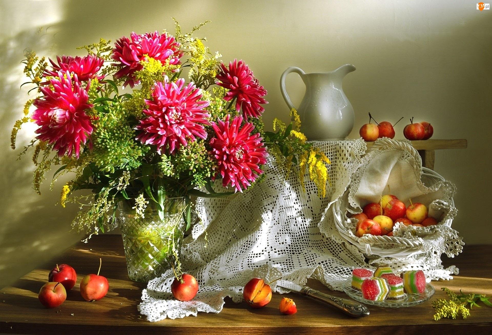 Kwiaty, Owoce, Bukiet, Chryzantemy