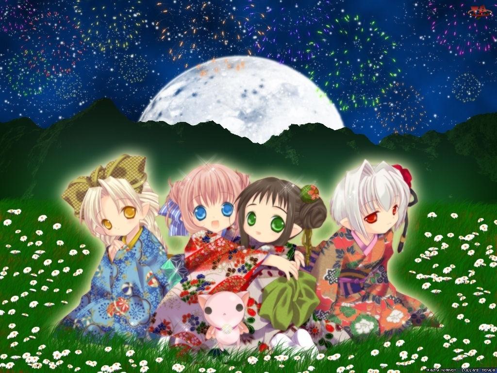 dziewczynki, Bottle Fairy, łaka, kimono, dzieci