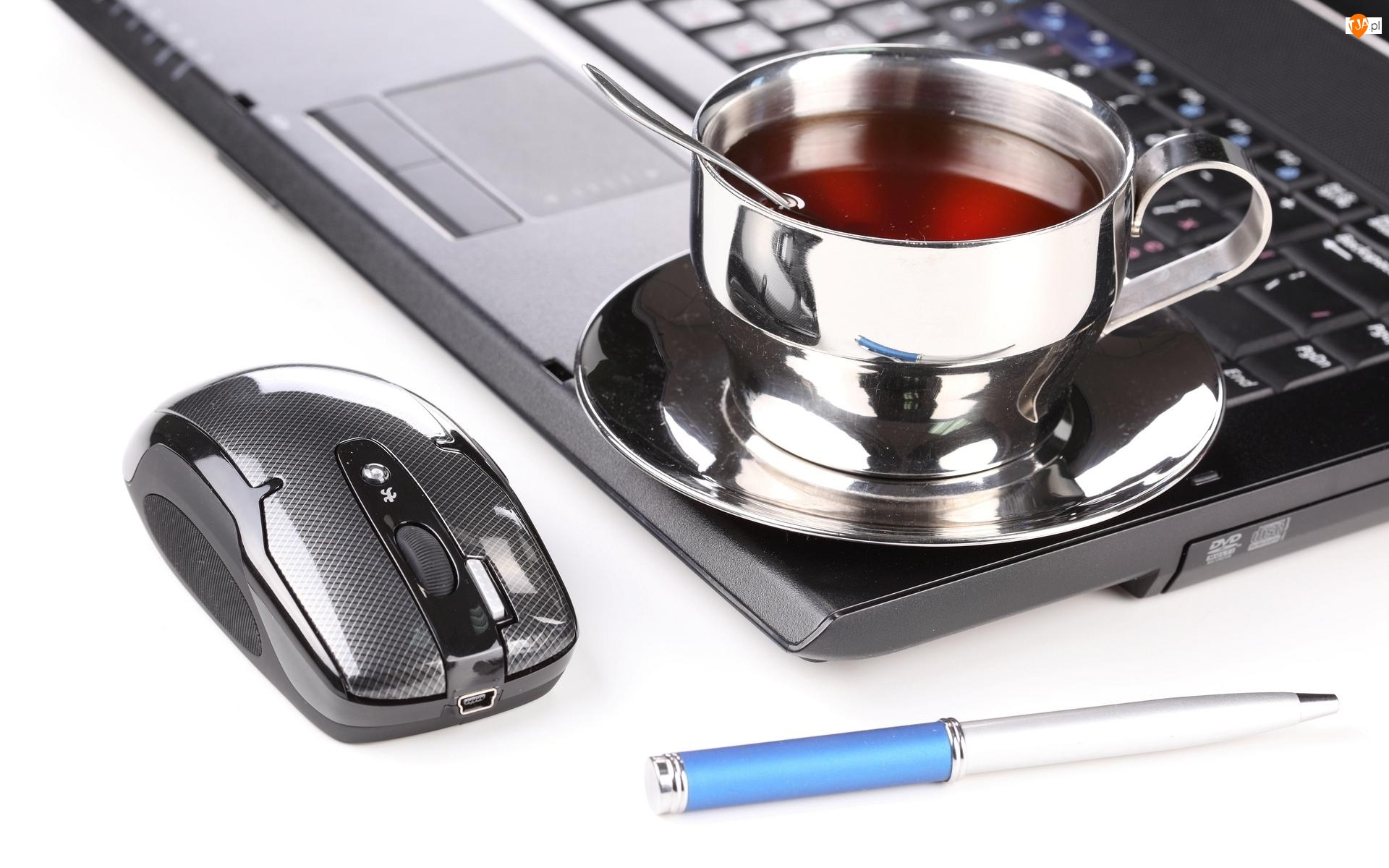 Filiżanka, Laptop, Długopis, Mysz, Herbata