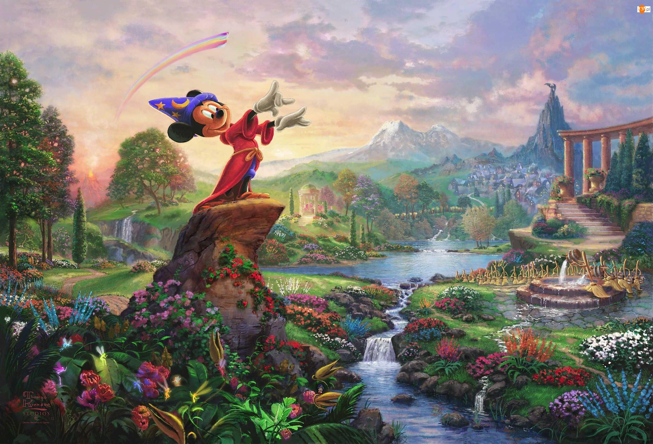Malarstwo, Disney, Thomas Kinkade, Myszka Miki
