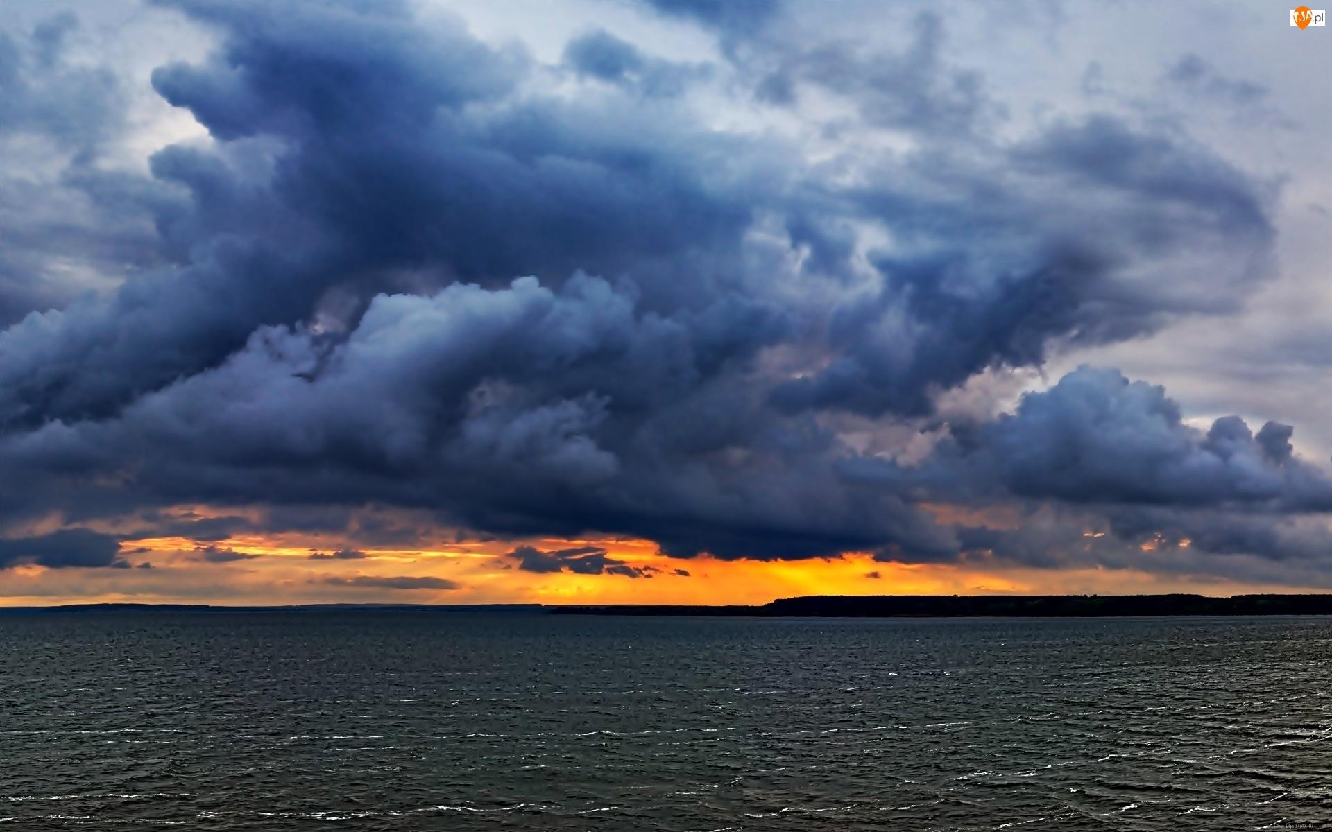 Morze, Chmury, Zachód Słońca, Ciemne