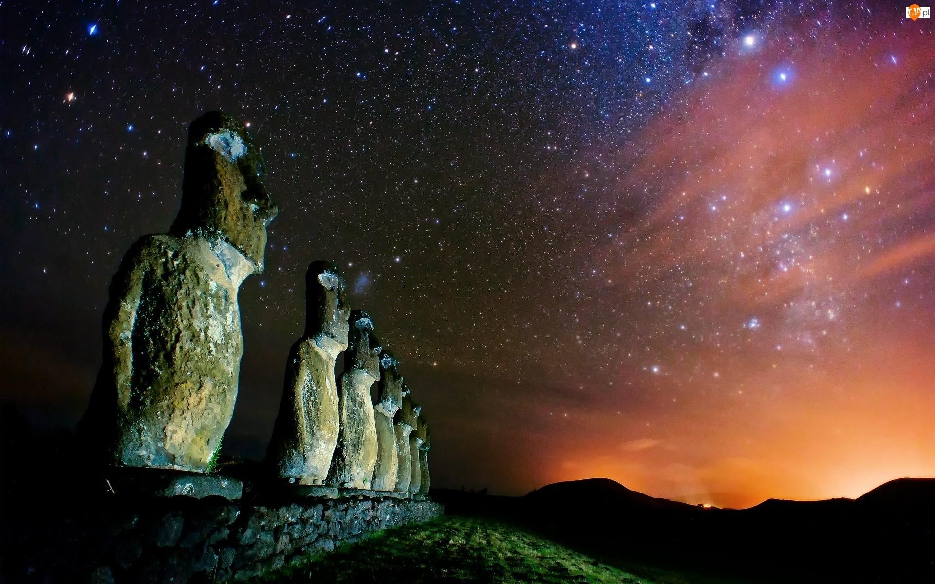 Rapa, Posągi, Wyspa, Maoi, Wielkanocna, Nui