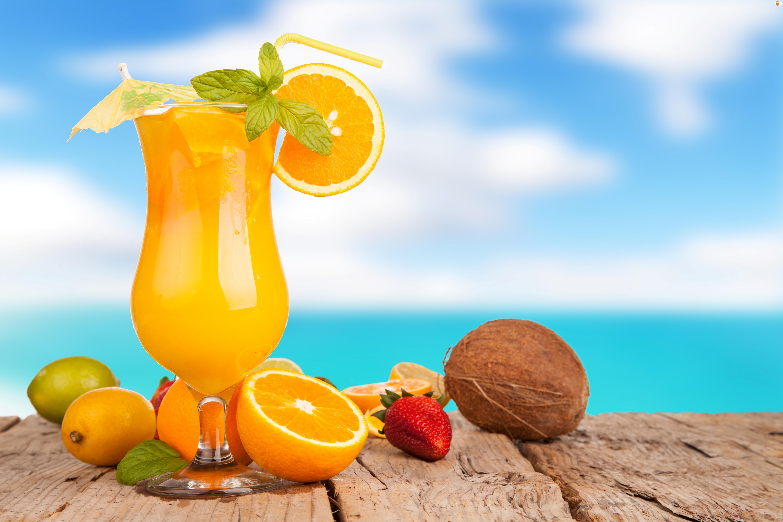 Kokos, Truskawka, Koktajl, Pomarańcza, Owoce, Cytryna