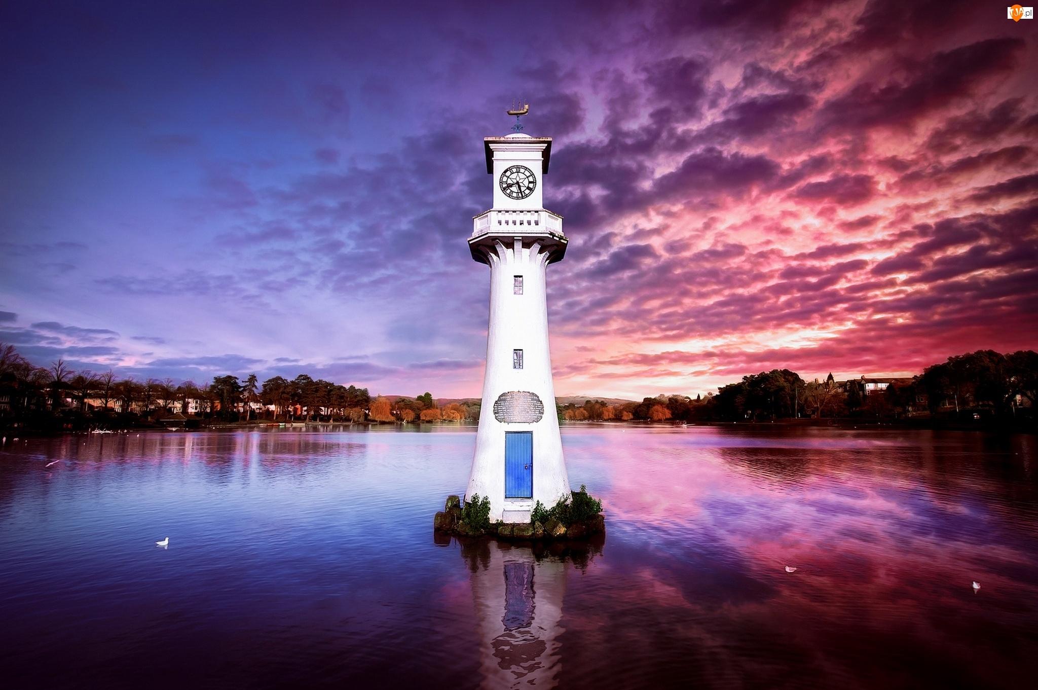 Woda, Wieża, Walia, Drzewa, Cardiff, Zegar