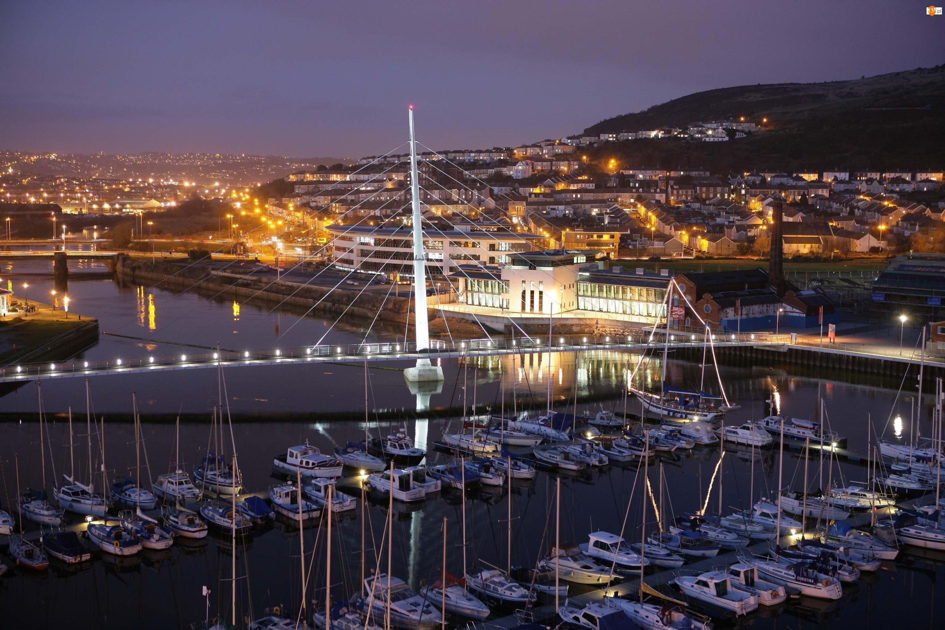 Marina, Miasto nocą, Yacht, Most