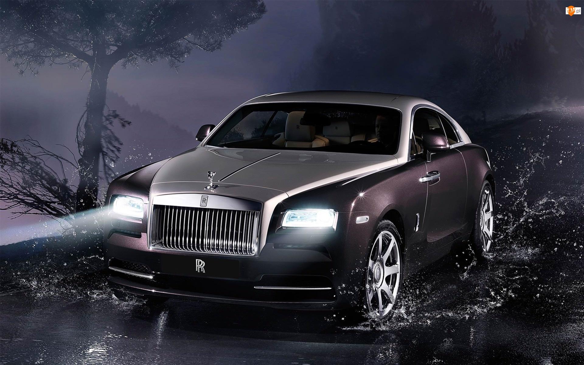 Kałuża, Rolls Royce, Droga, Wraith, Drzewo