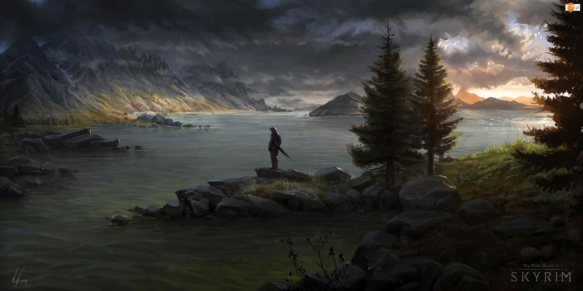 Rycerz, Skyrim, Morze, Góry, Drzewa
