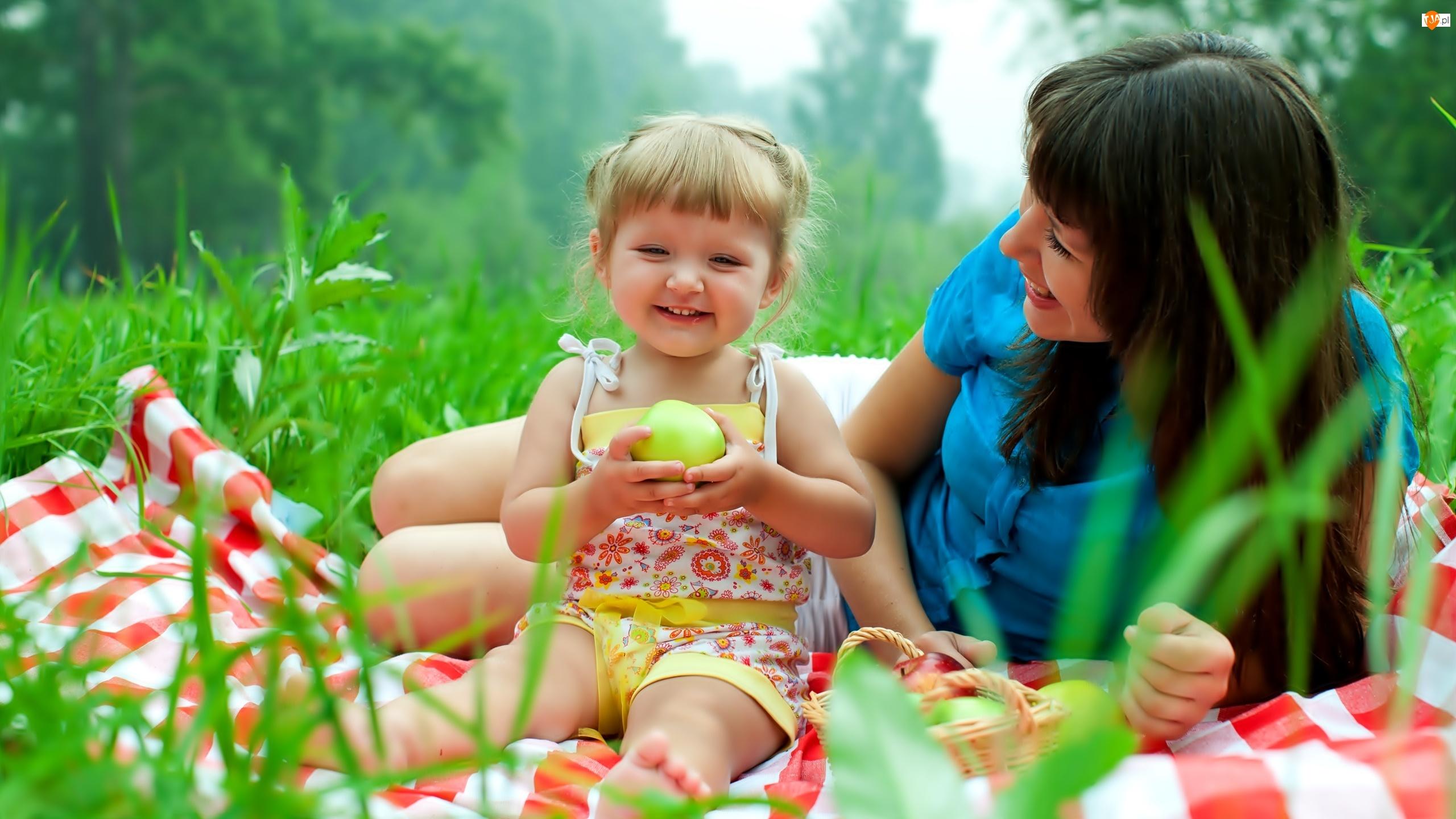Kobieta, Piknik, Dziecko, Łąka