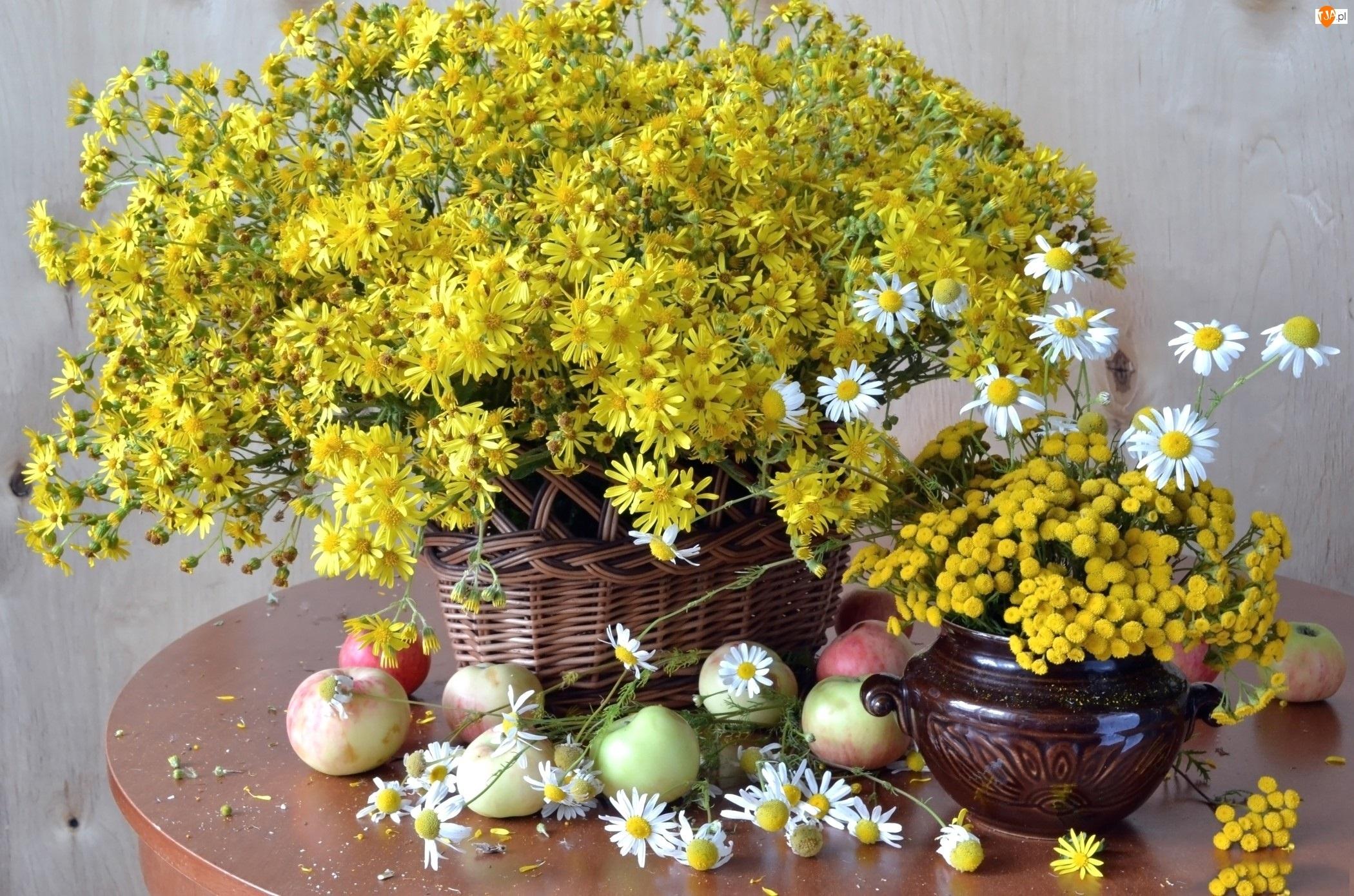 Bukiet, Jablka, Kwiaty, Polne