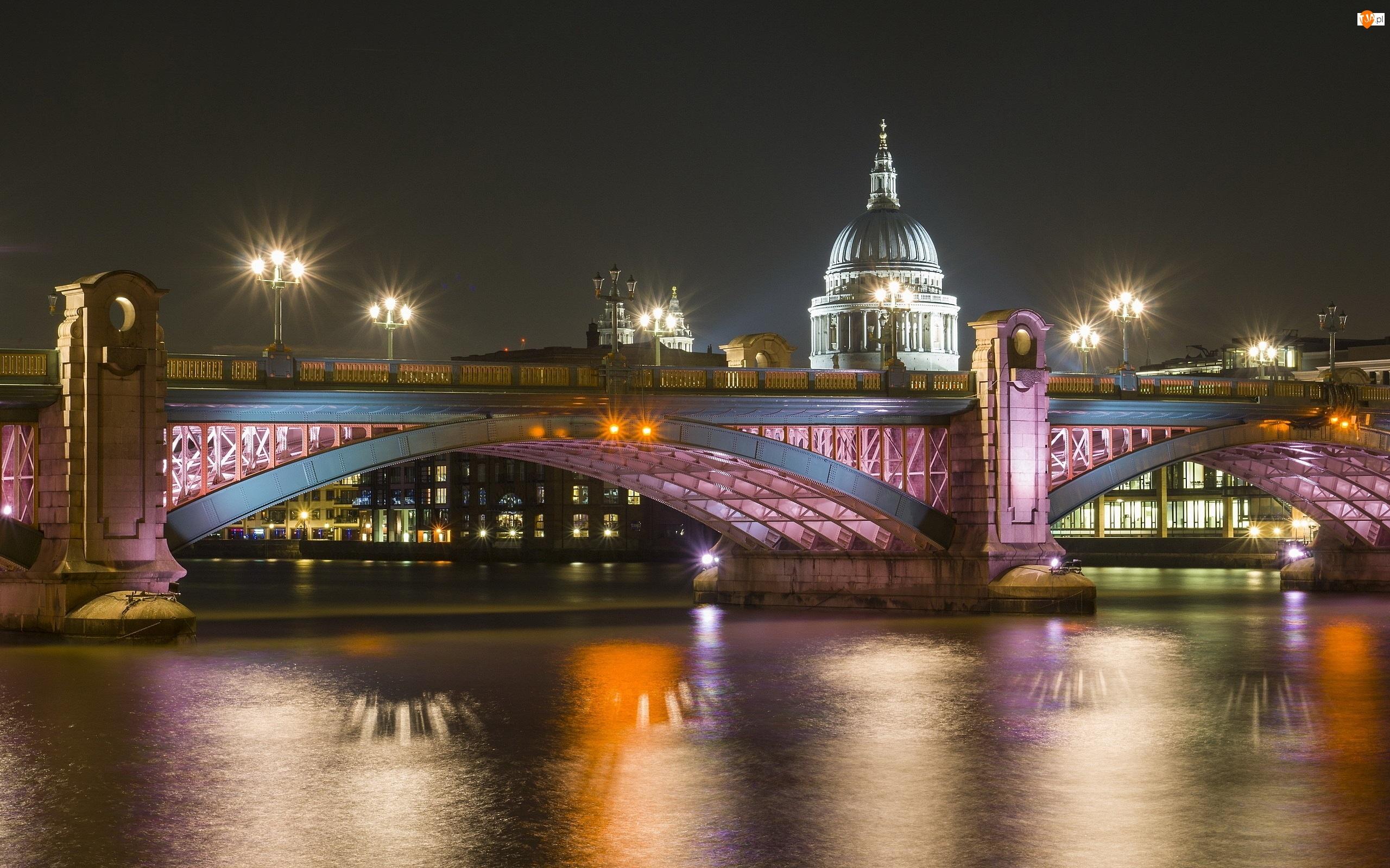 Miasto, Rzeka, Nocą, Most