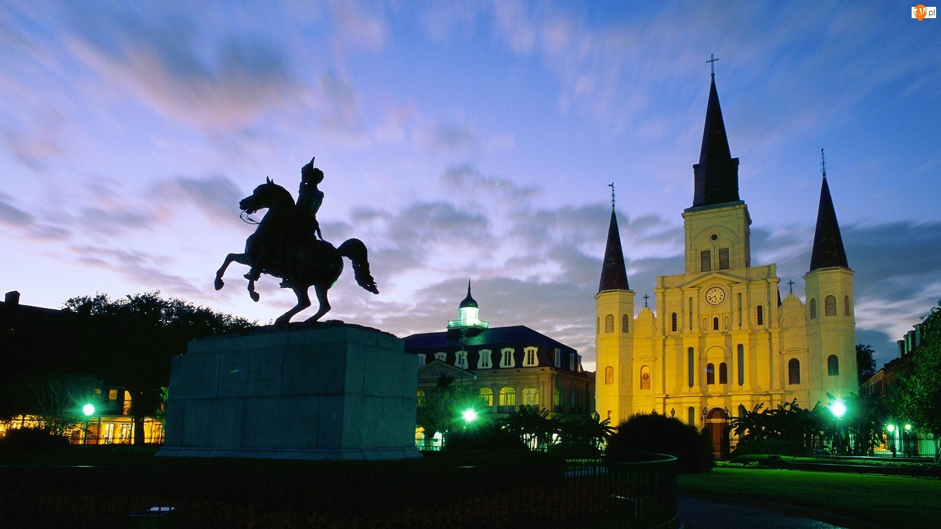 Pomnik, Katedra, Nowy Orlean, Wieczór, Luizjana, Jackson Square