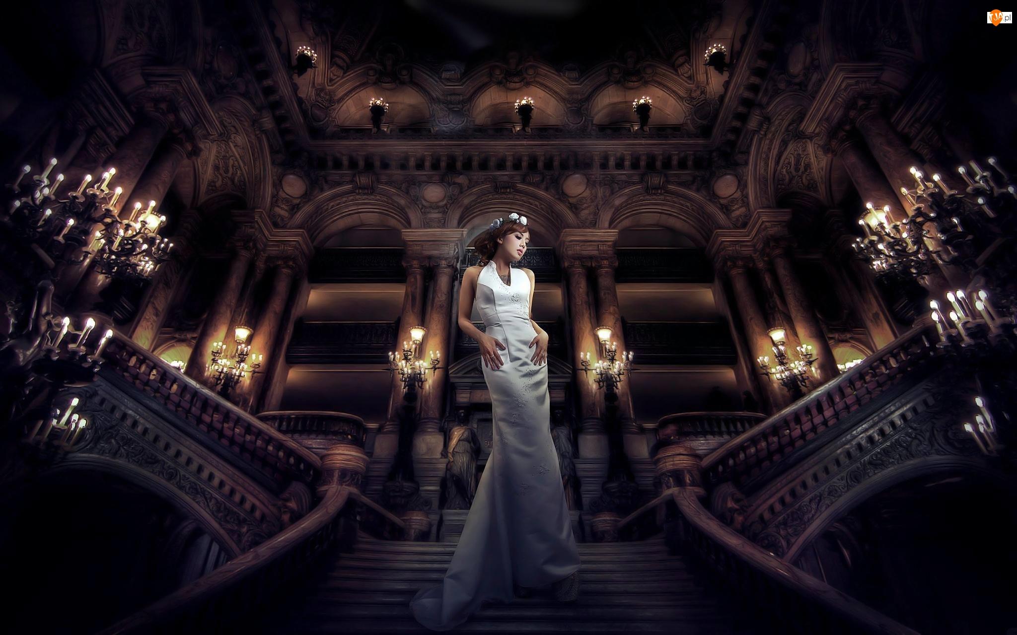 Kobieta, Biała Suknia, Opera, Schody