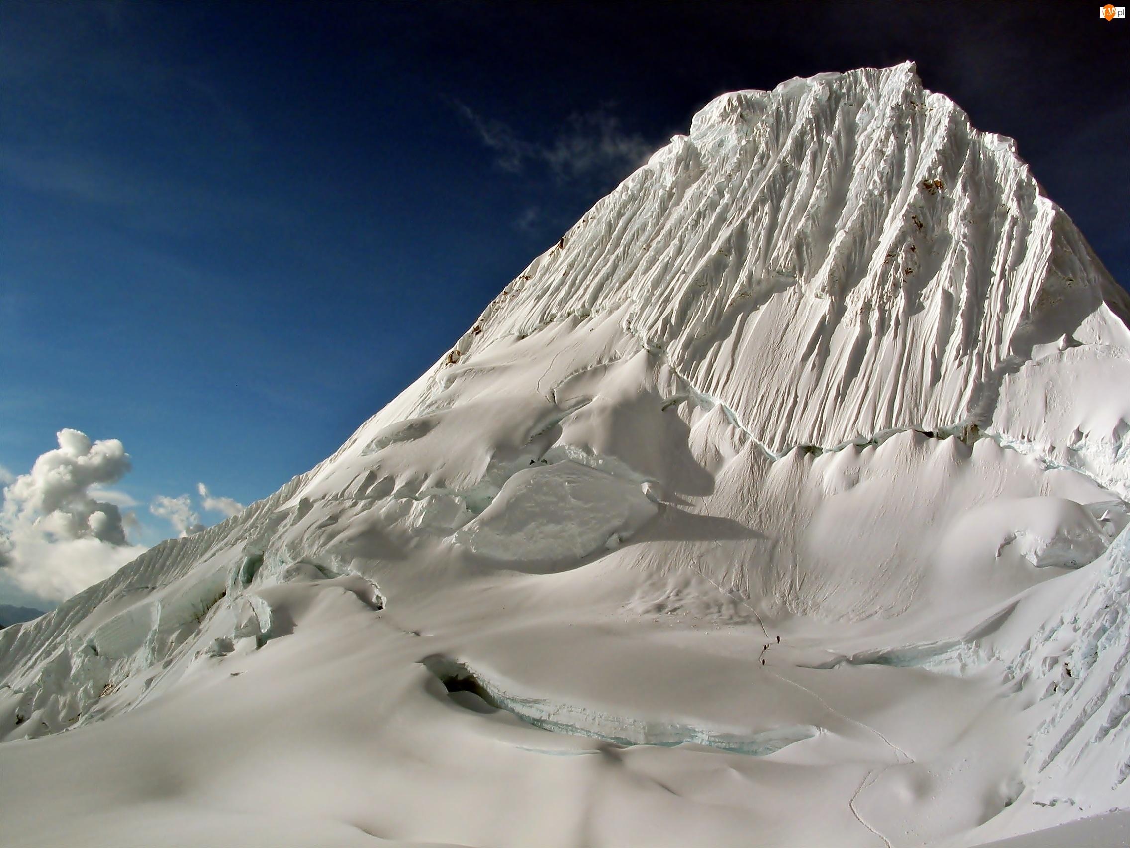 Szczyt, Obłoki, Góry, Zima, Andy, Alpamayo