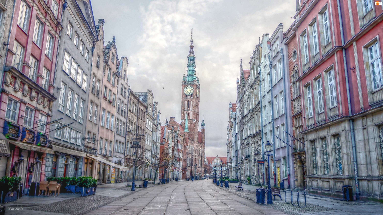 Kamienice, Ratusz, Gdańsk, HDR, Ulica, Zabytki